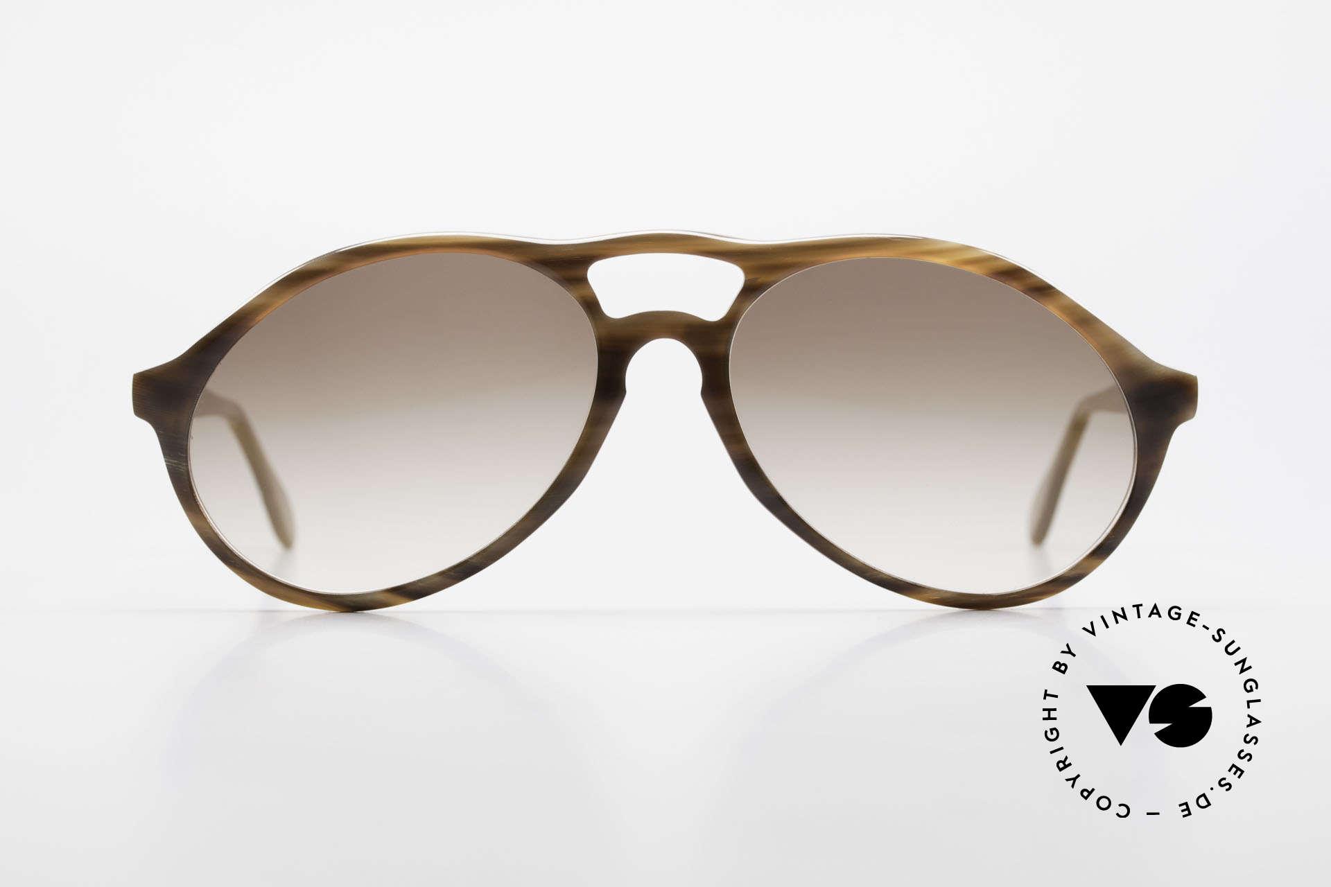 Bugatti 64852 Echt Büffelhorn Brille Vintage, kostbare vintage BUGATTI Sonnenbrille in Größe 54-16, Passend für Herren