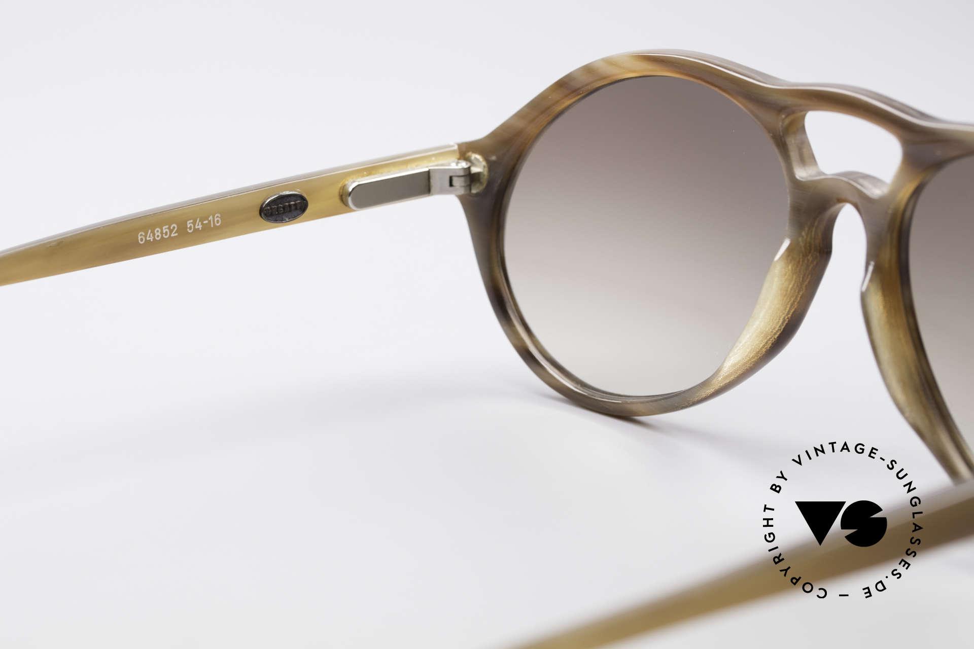 Bugatti 64852 Echt Büffelhorn Brille Vintage, ein ungetragenes Original der späten 70er / frühen 80er, Passend für Herren