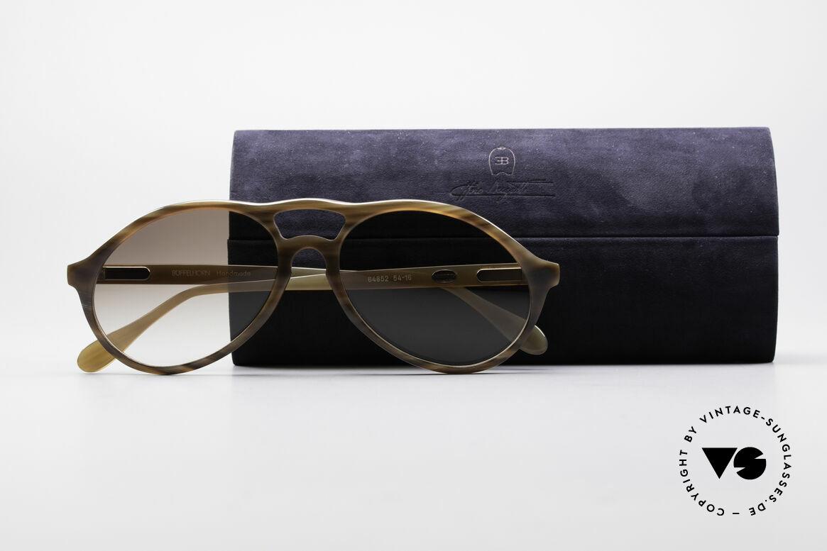Bugatti 64852 Echt Büffelhorn Brille Vintage, Größe: large, Passend für Herren