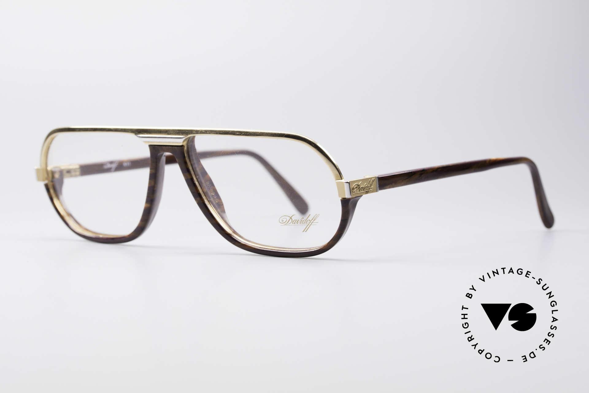 Davidoff 300 Kleine Herren Vintage Brille, goldene Fassung & Design-Elemente in Wurzelholz-Optik, Passend für Herren