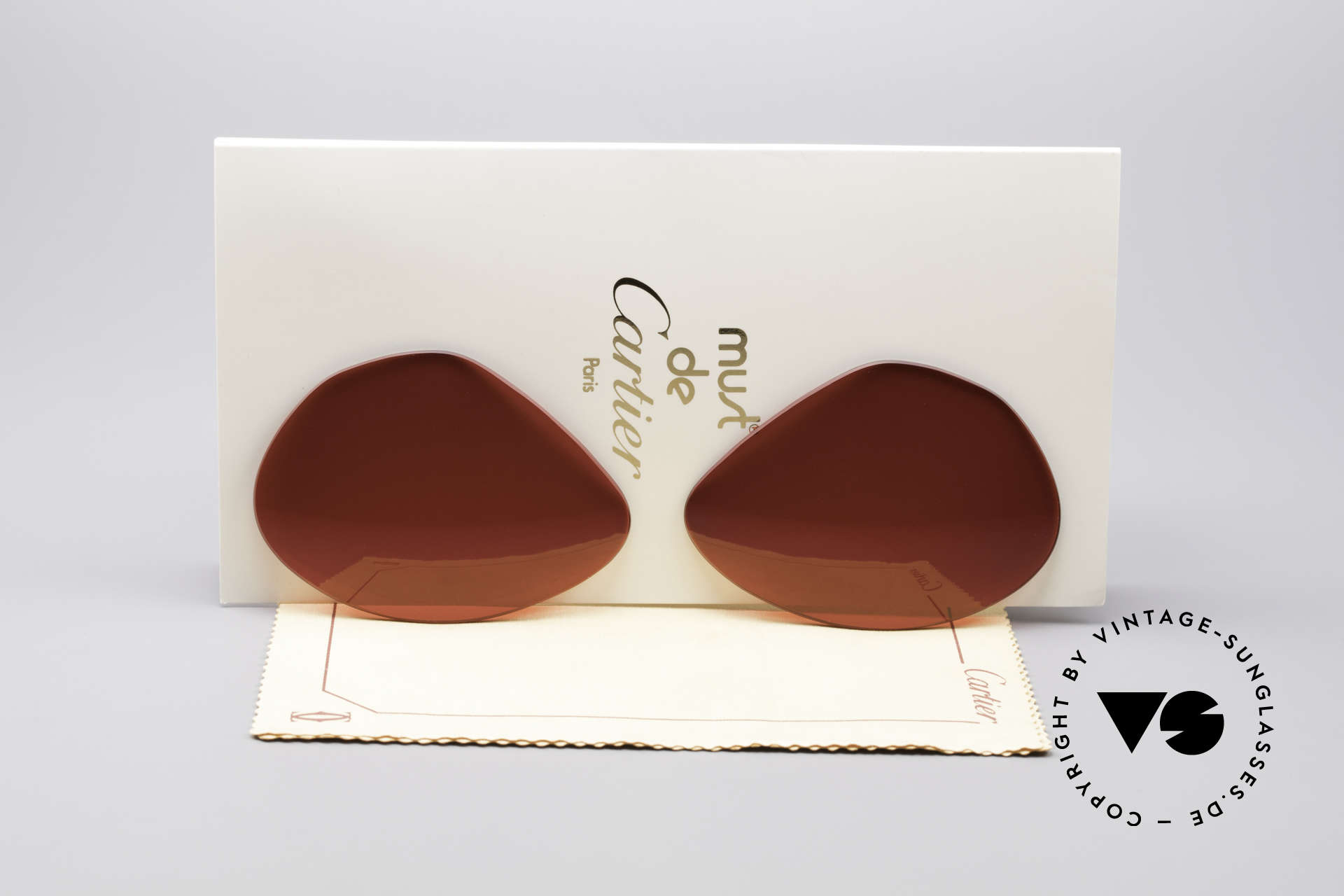 Cartier Vendome Lenses - L Sonnengläser 3D Rot, neue CR39 UV400 Kunststoff-Gläser (100% UV Schutz), Passend für Herren