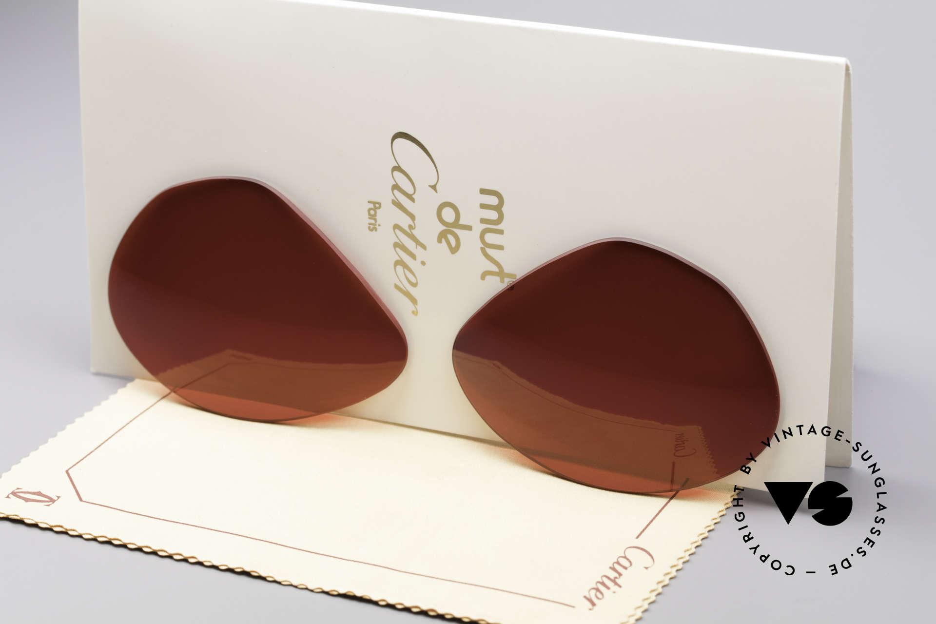 Cartier Vendome Lenses - L Sonnengläser 3D Rot, Ersatzgläser für Cartier Modell Vendome LARGE 62mm, Passend für Herren