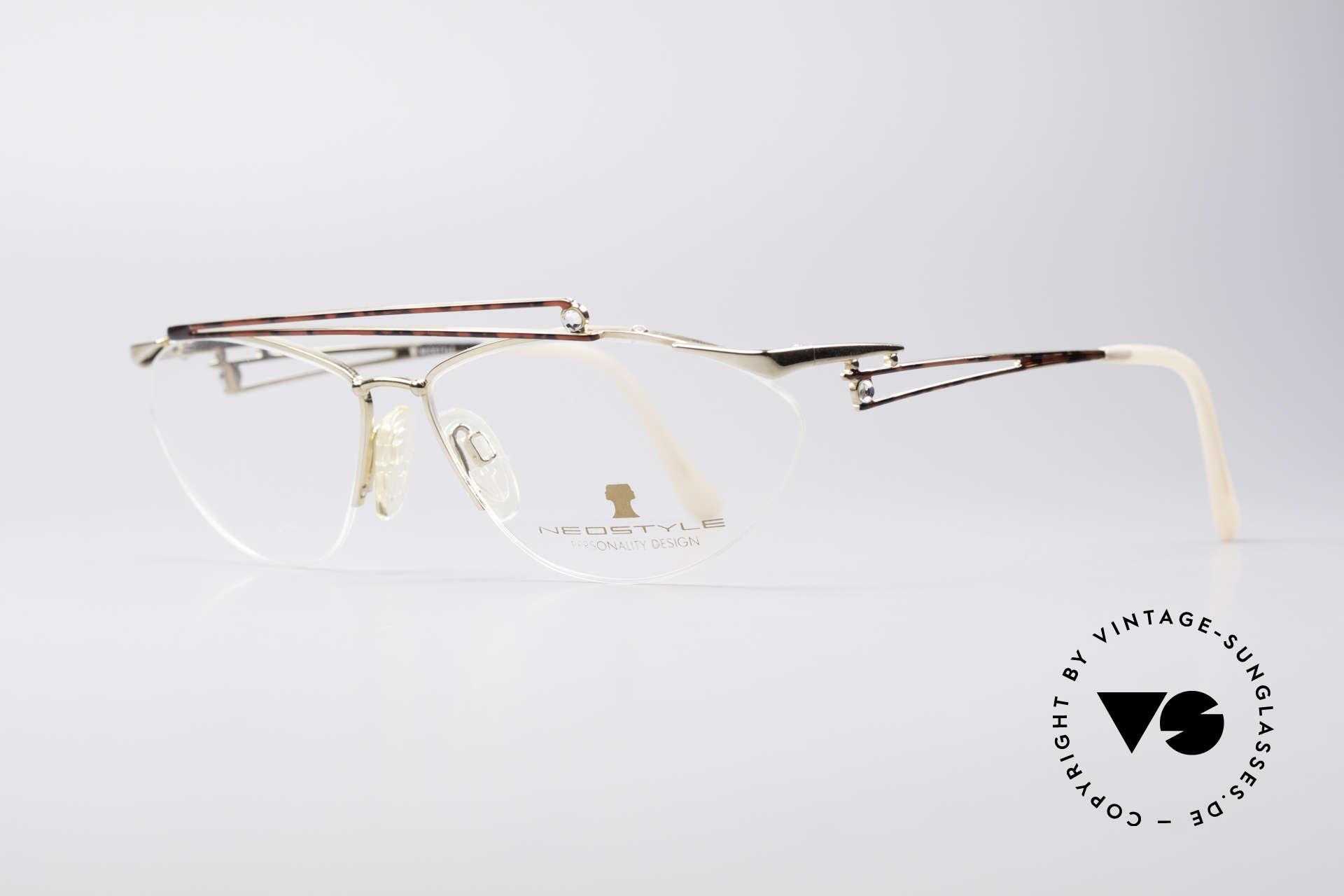 Neostyle Jet 221 Schmuckstein Vintage Brille, subtile Lackierung in einem kastanienbraunen Muster, Passend für Damen