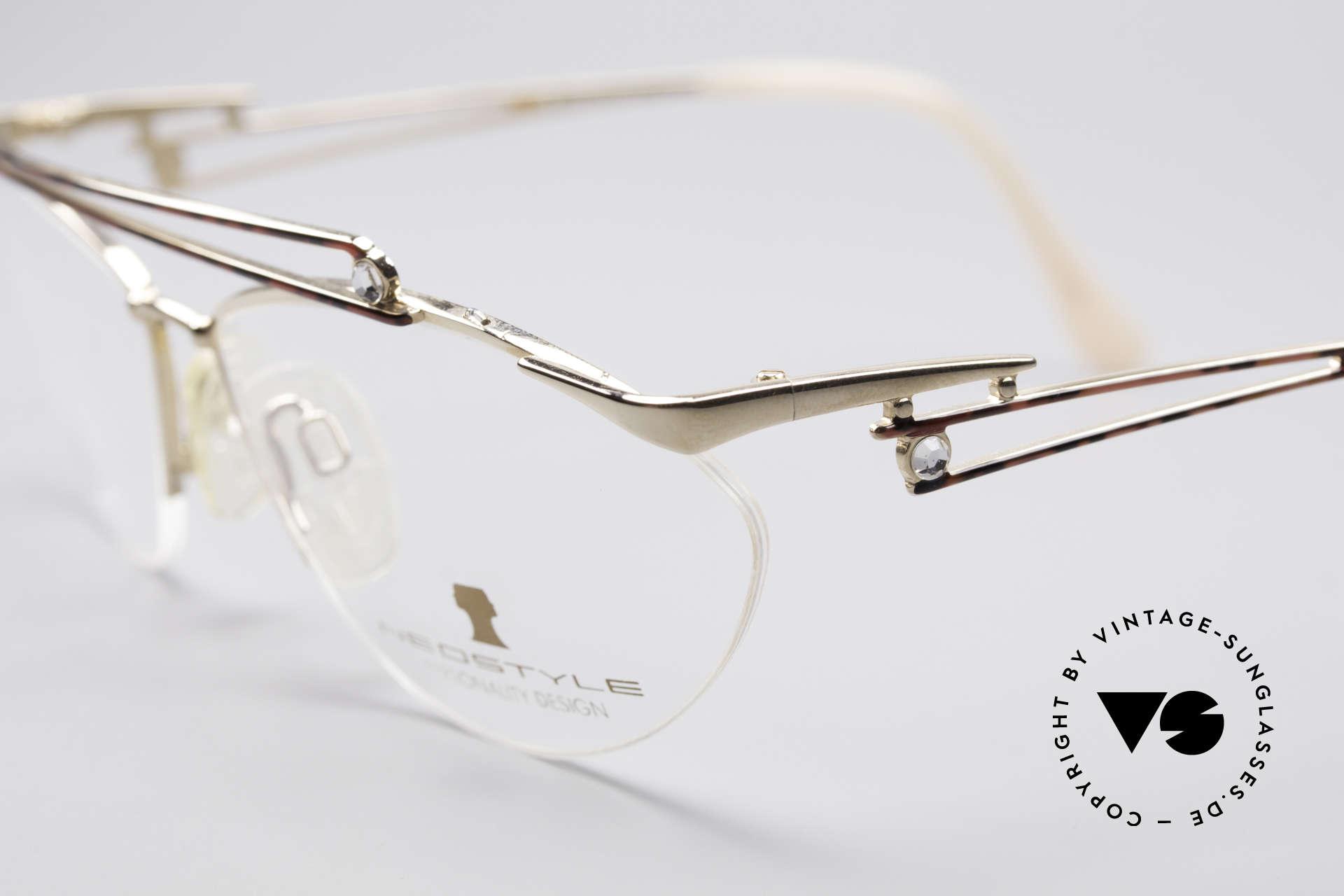 Neostyle Jet 221 Schmuckstein Vintage Brille, große, funkelnde Strass-Steine auf Front und Bügeln, Passend für Damen