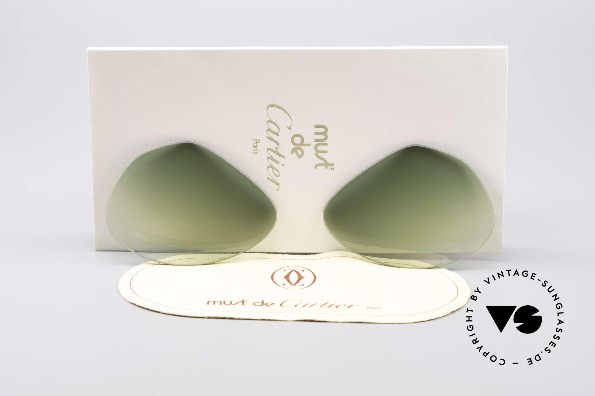 Cartier Vendome Lenses - L Sonnengläser Grün Verlauf, Ersatzgläser für Cartier Modell Vendome LARGE 62mm, Passend für Herren