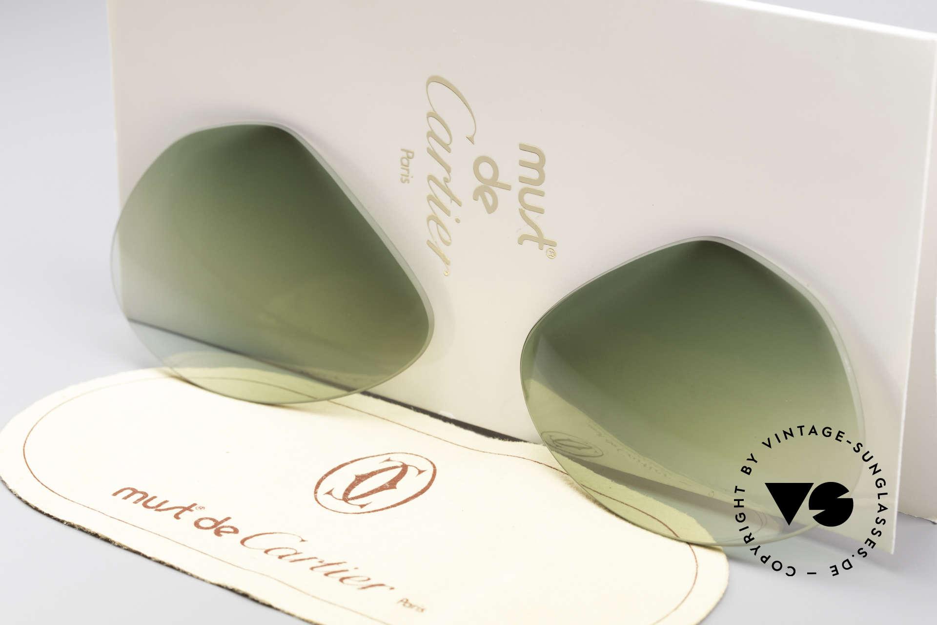 Cartier Vendome Lenses - L Sonnengläser Grün Verlauf, neue CR39 UV400 Kunststoff-Gläser (100% UV Schutz), Passend für Herren