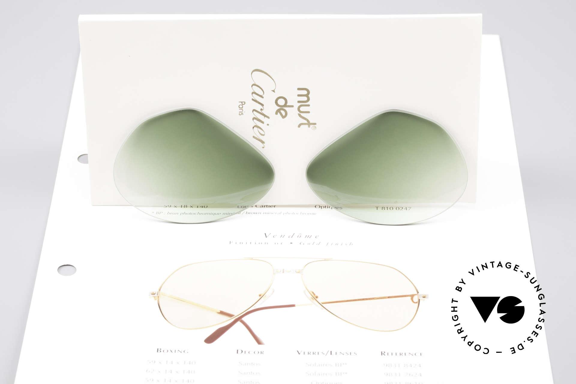 Cartier Vendome Lenses - L Sonnengläser Grün Verlauf, eleganter grüner Verlauf (nach unten heller werdend), Passend für Herren