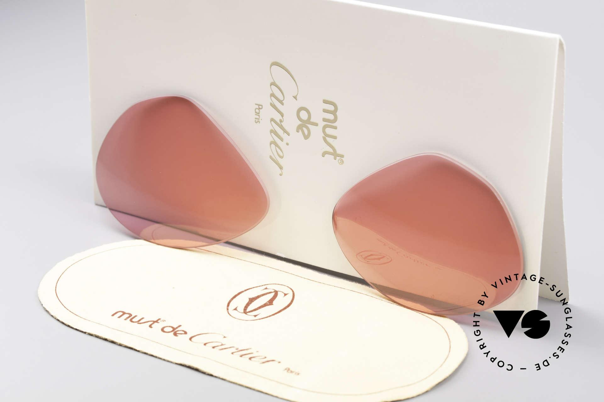 Cartier Vendome Lenses - M Sonnengläser Pink, neue CR39 UV400 Kunststoff-Gläser (100% UV Schutz), Passend für Herren und Damen
