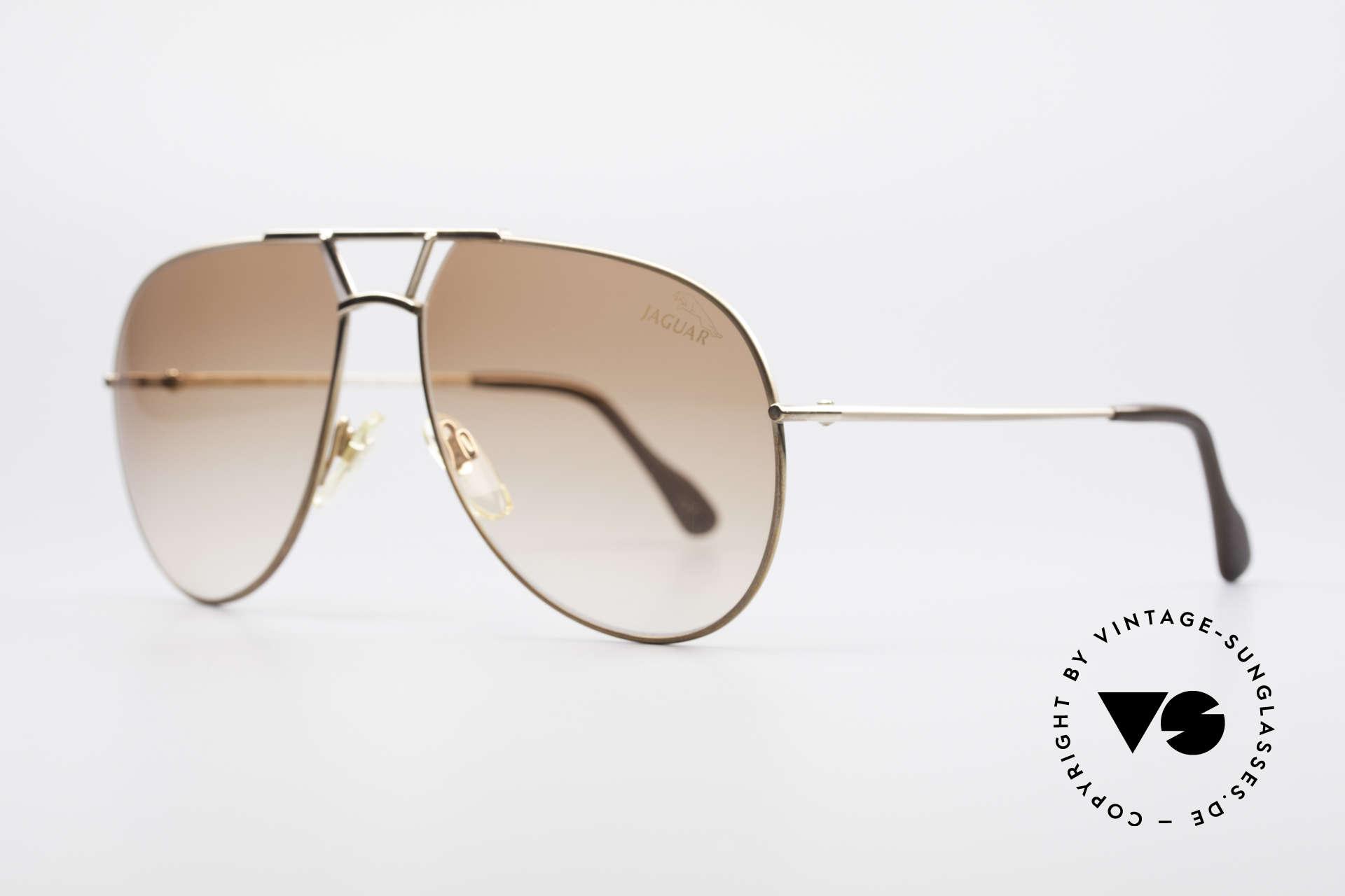 Jaguar 795 Vintage Herren Sonnenbrille, goldene Fassung & Gläser in braun-Verlauf, 100% UV, Passend für Herren