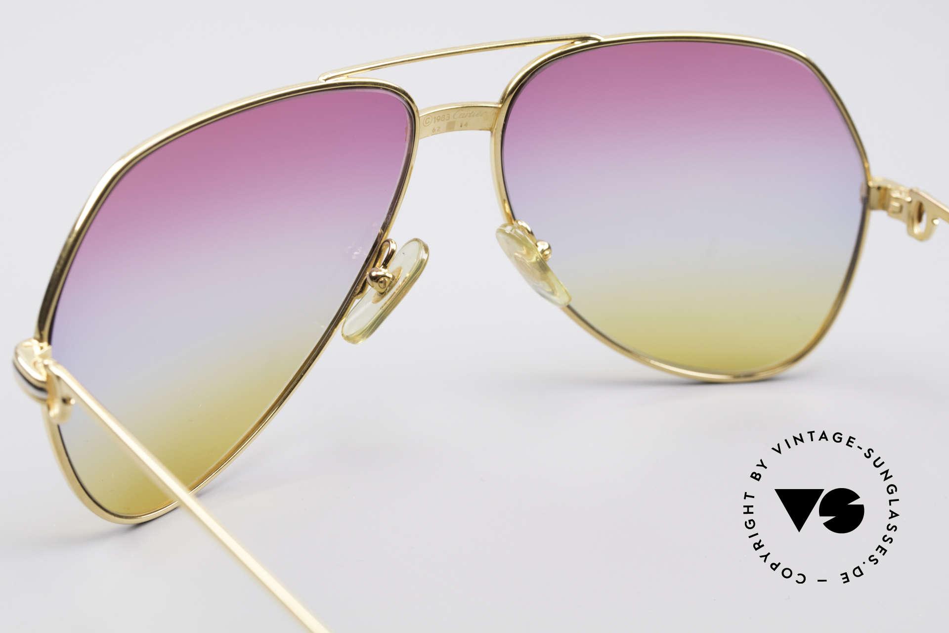 Cartier Vendome LC - L Rare Luxus Vintage Brille, ultra rare, neue 'TRICOLOR customized' Verlaufsgläser, Passend für Herren und Damen