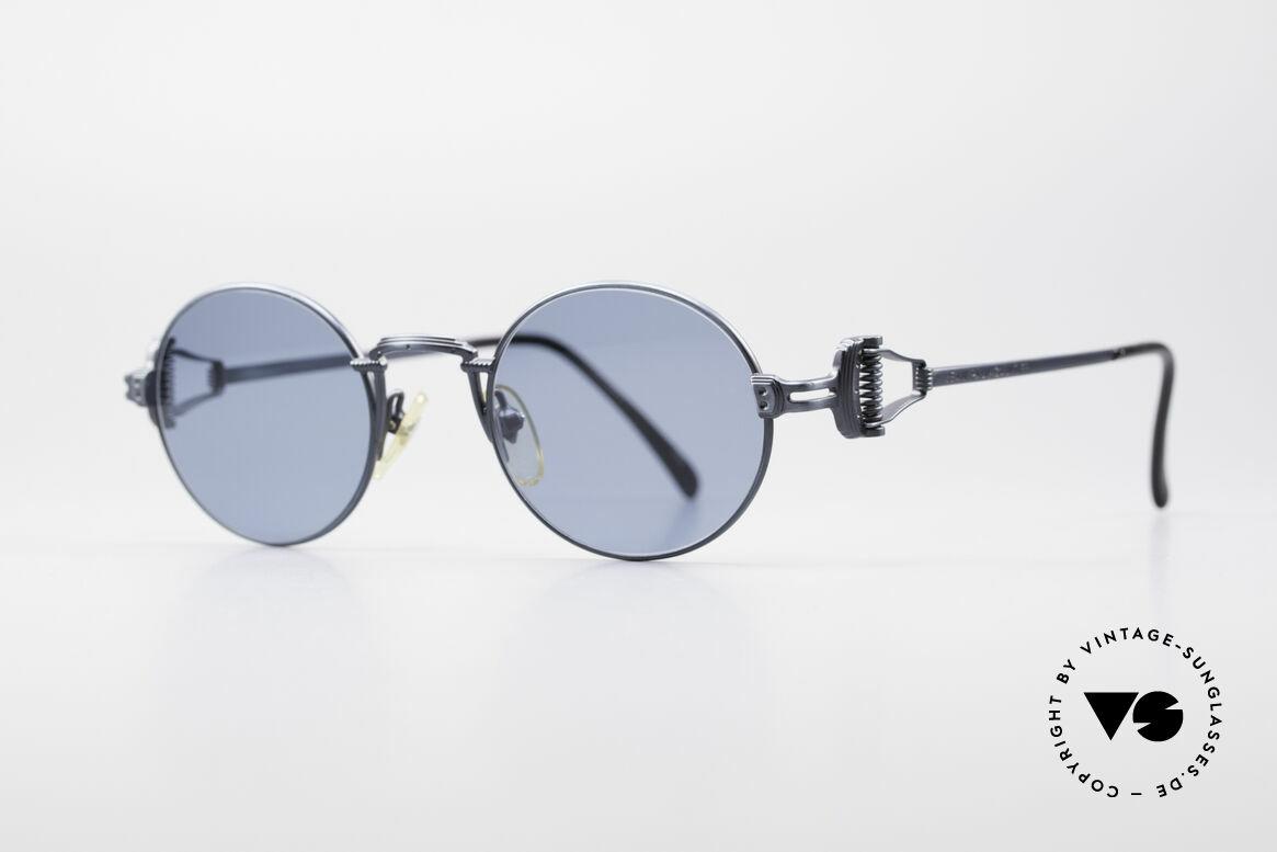 """Jean Paul Gaultier 55-5106 Steampunk Vintage Brille JPG, perfekt abgestimmtes Farb-Konzept in """"blau-metallic"""", Passend für Herren und Damen"""