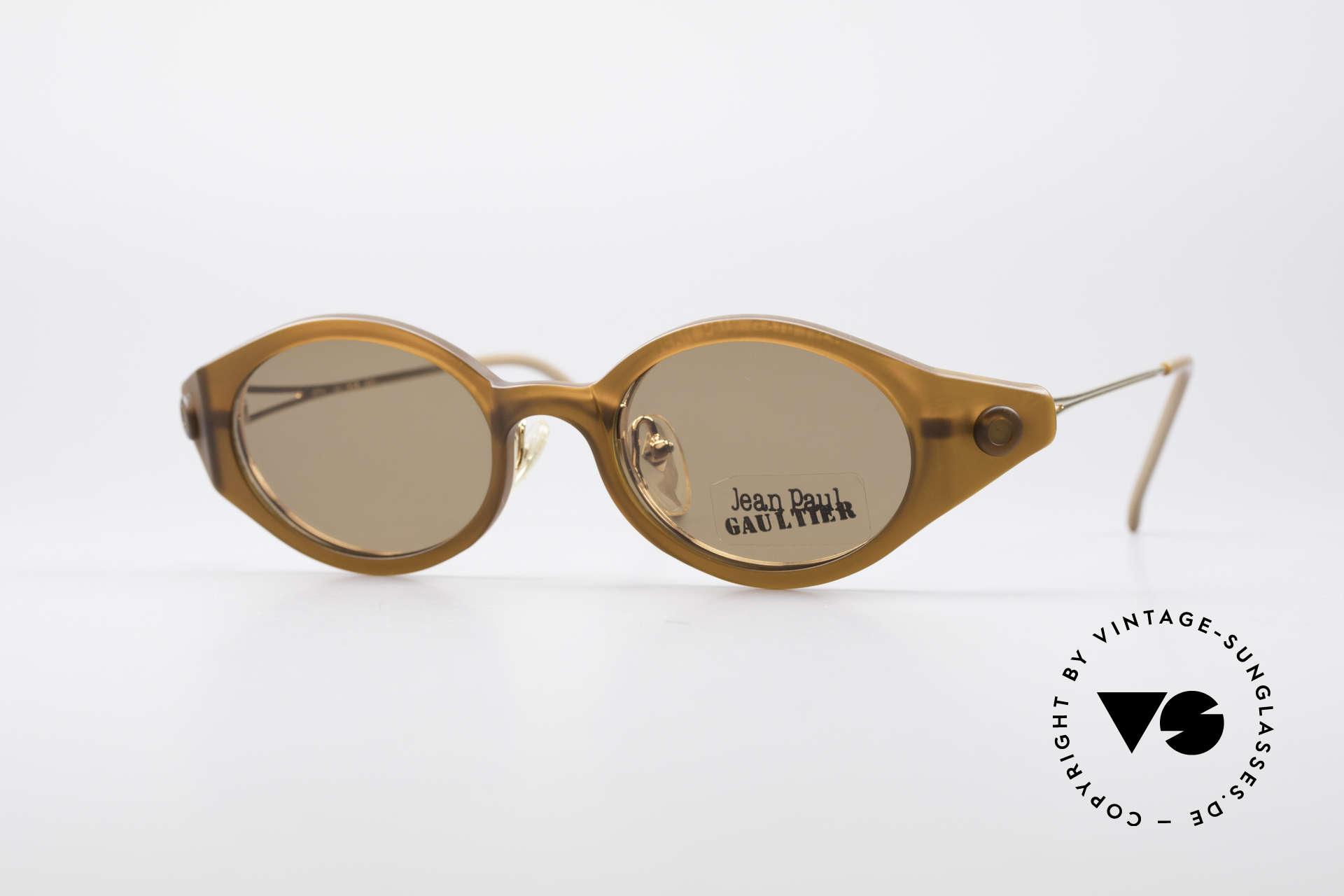 Jean Paul Gaultier 56-7202 Ovale Brille mit Sonnenclip, orig. vintage Jean Paul Gaultier Designersonnenbrille, Passend für Herren und Damen