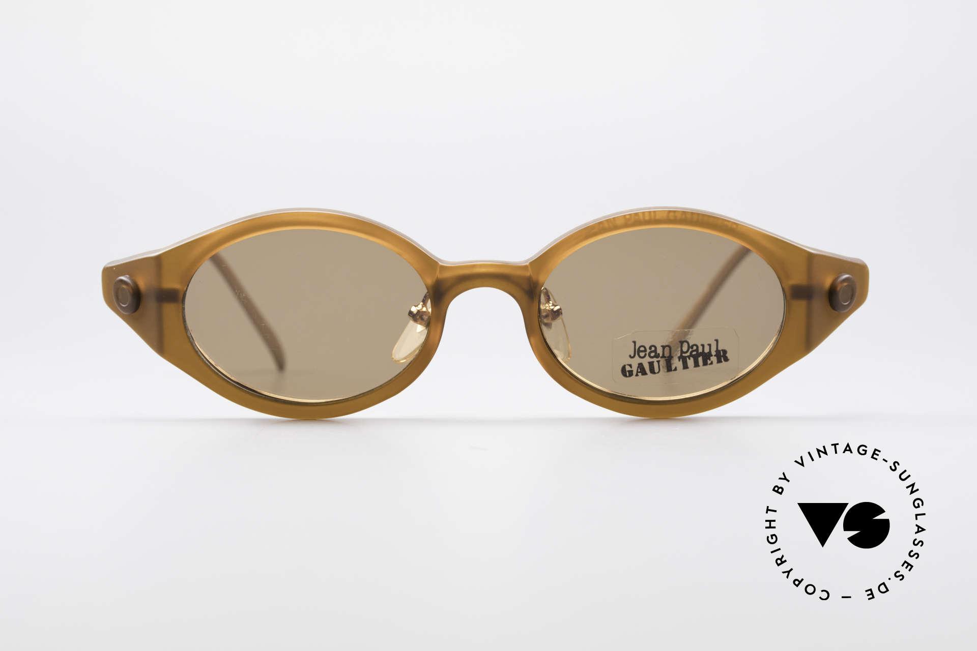 Jean Paul Gaultier 56-7202 Ovale Brille mit Sonnenclip, magnetisch abnehmbarer Sonnenclip; 100% UV Schutz, Passend für Herren und Damen