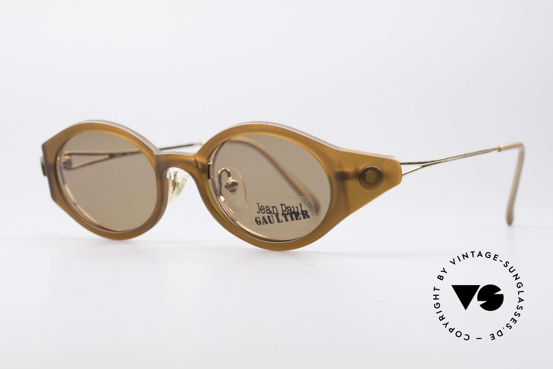 Jean Paul Gaultier 56-7202 Ovale Brille mit Sonnenclip, Top-Verarbeitung aus den frühen 90ern (made in Japan), Passend für Herren und Damen