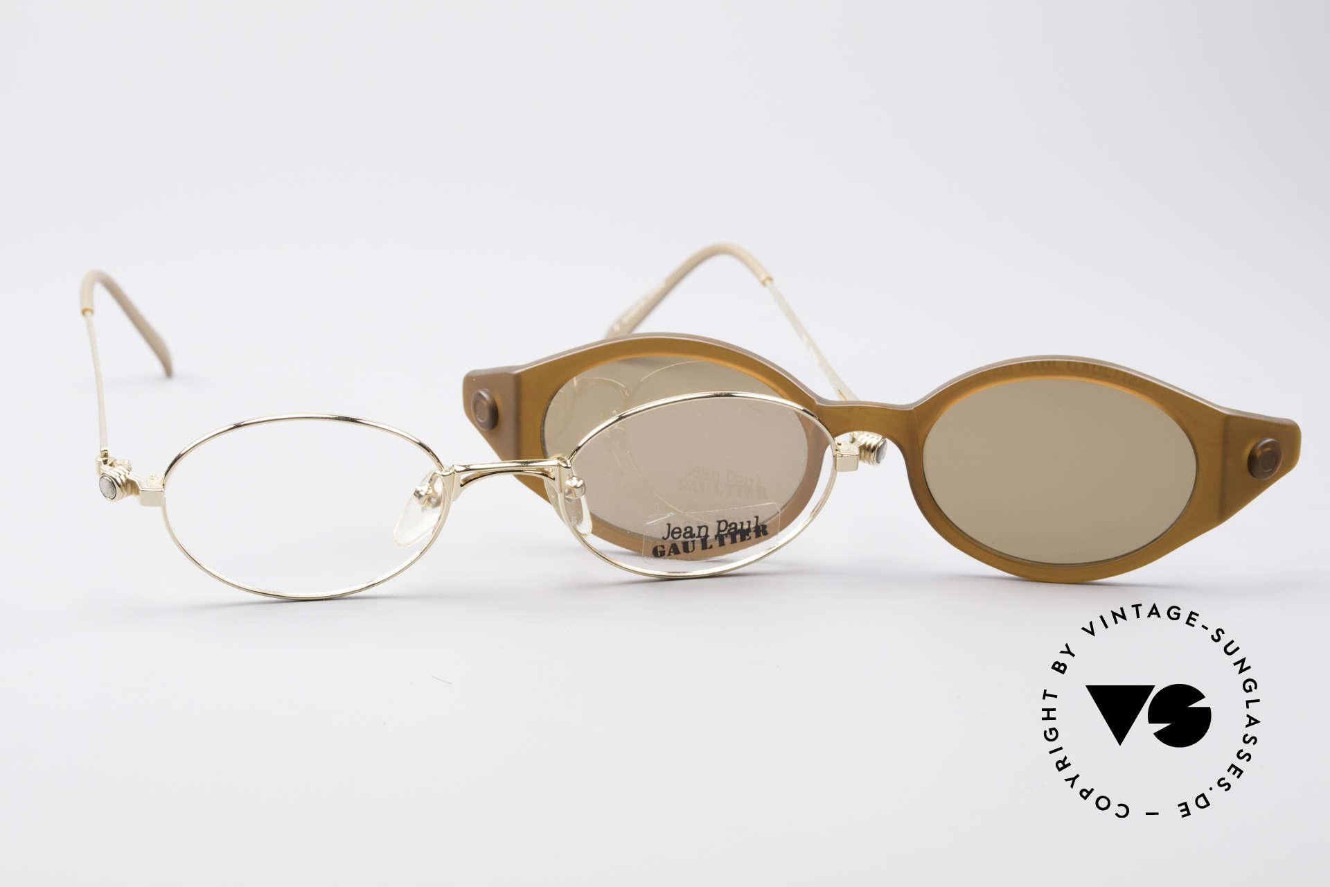Jean Paul Gaultier 56-7202 Ovale Brille mit Sonnenclip, KEINE Retrobrille, sondern ein kostbares altes Original, Passend für Herren und Damen