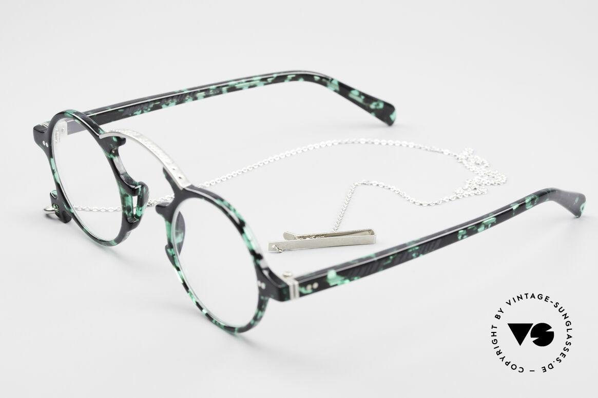 Jean Paul Gaultier 58-0271 Steampunk Vintage Brille, mit abnehmbarer Brillenkette als originelles Gimmick, Passend für Herren und Damen