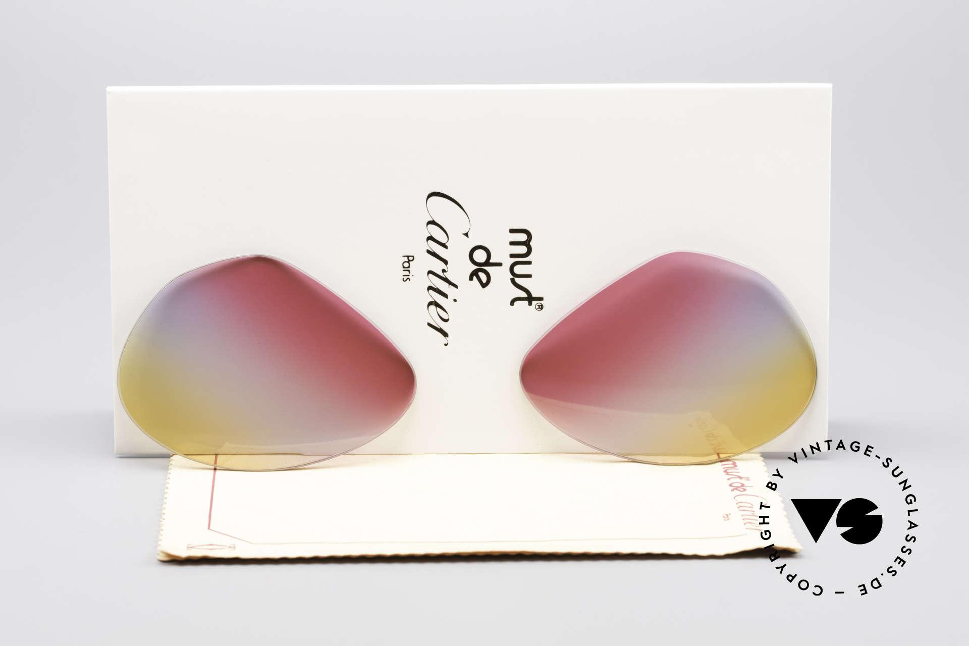 Cartier Vendome Lenses - L Tricolored Sunrise Gläser, Ersatzgläser für Cartier Modell Vendome LARGE 62mm, Passend für Herren und Damen