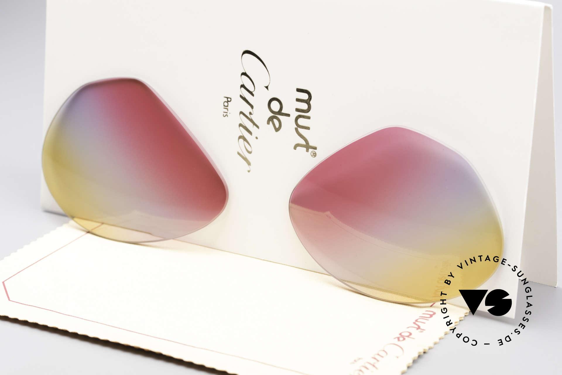 Cartier Vendome Lenses - L Tricolored Sunrise Gläser, neue CR39 UV400 Kunststoff-Gläser (100% UV Schutz), Passend für Herren und Damen
