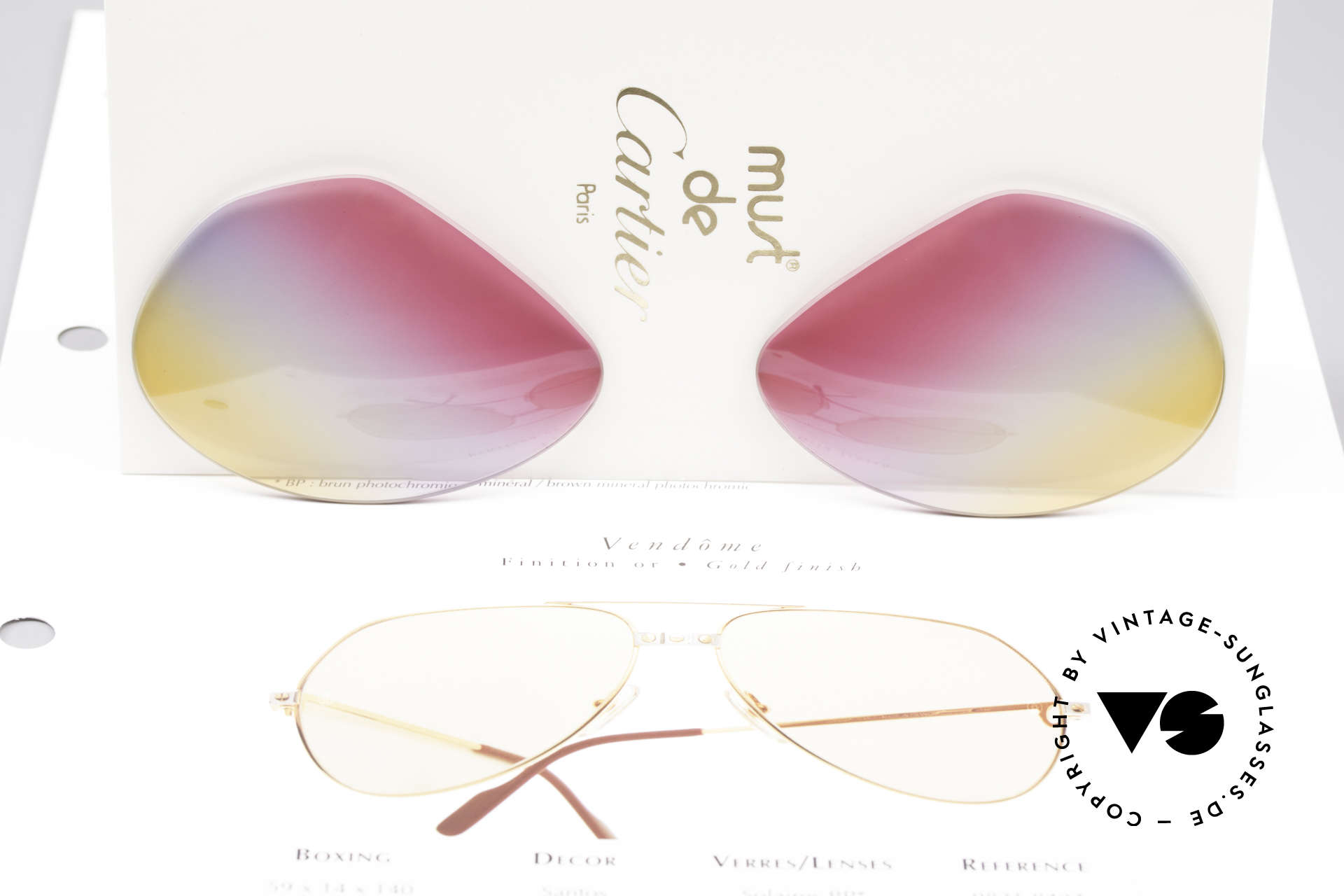 Cartier Vendome Lenses - L Tricolored Sunrise Gläser, Dreifach-Farbverlauf der Gläser wie ein Sonnenaufgang, Passend für Herren und Damen