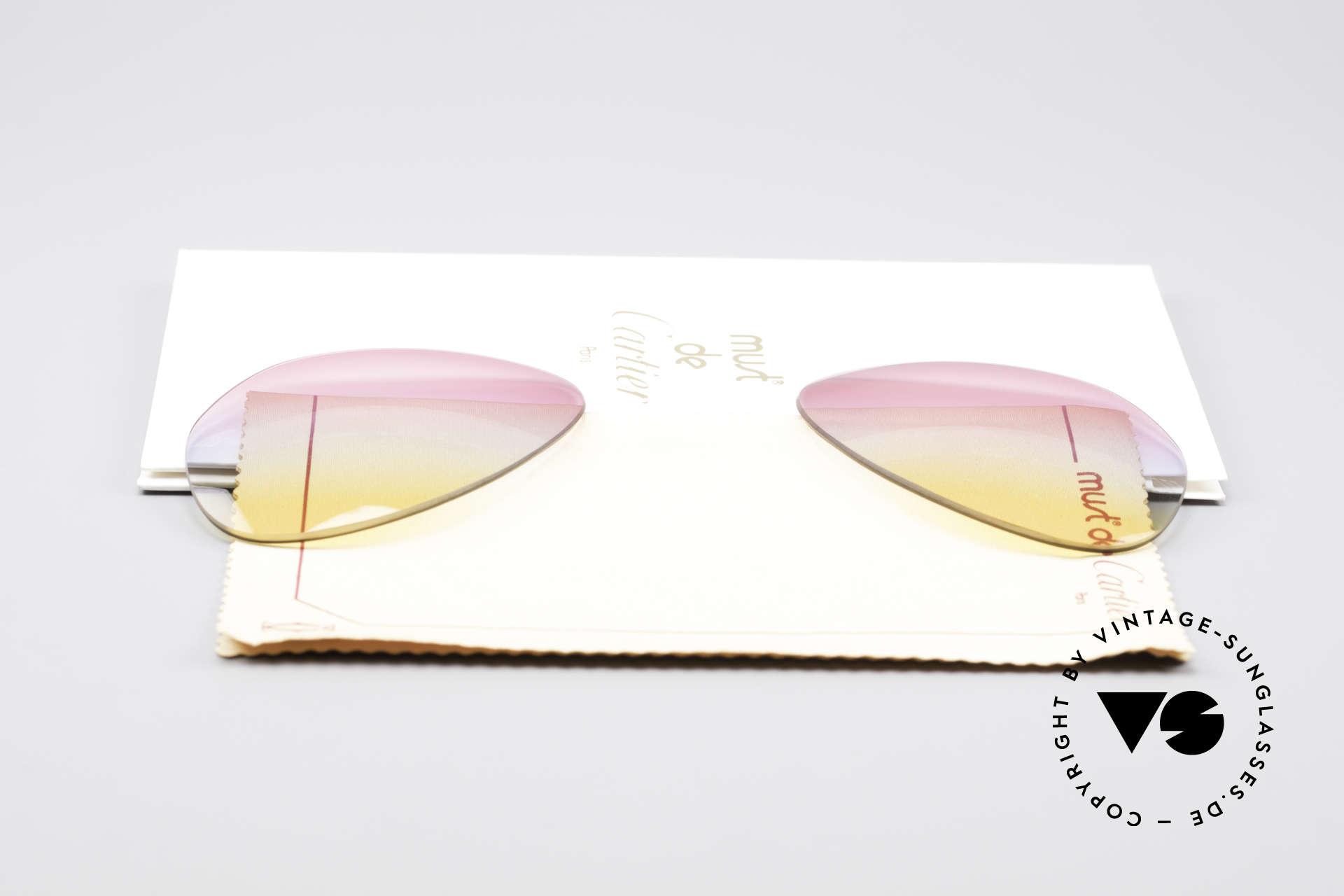 Cartier Vendome Lenses - L Tricolored Sunrise Gläser, von unserem Optiker gefertigt: daher neu & kratzerfrei, Passend für Herren und Damen