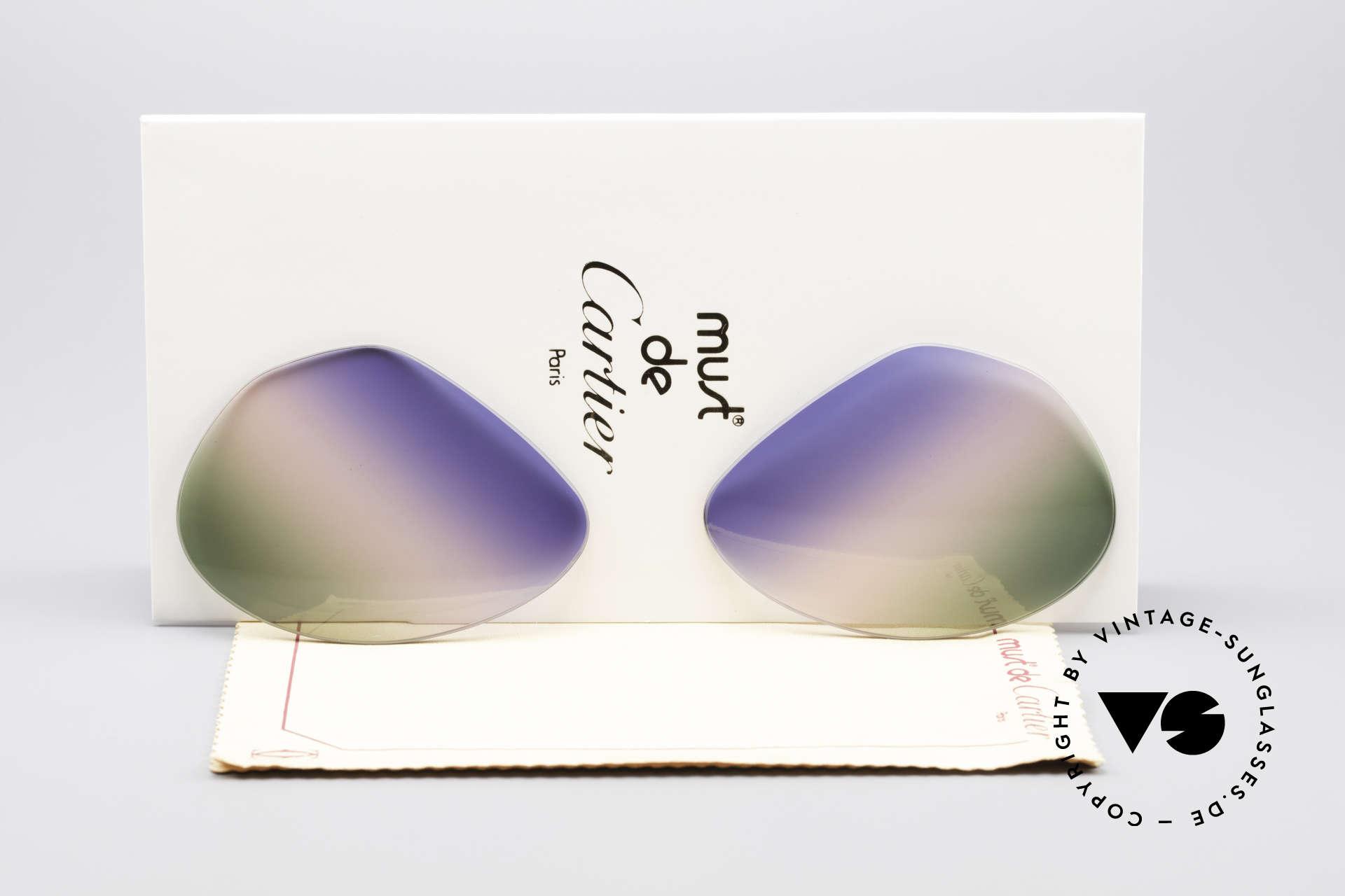 Cartier Vendome Lenses - L Tricolored Horizon Gläser, Ersatzgläser für Cartier Modell Vendome LARGE 62mm, Passend für Herren und Damen