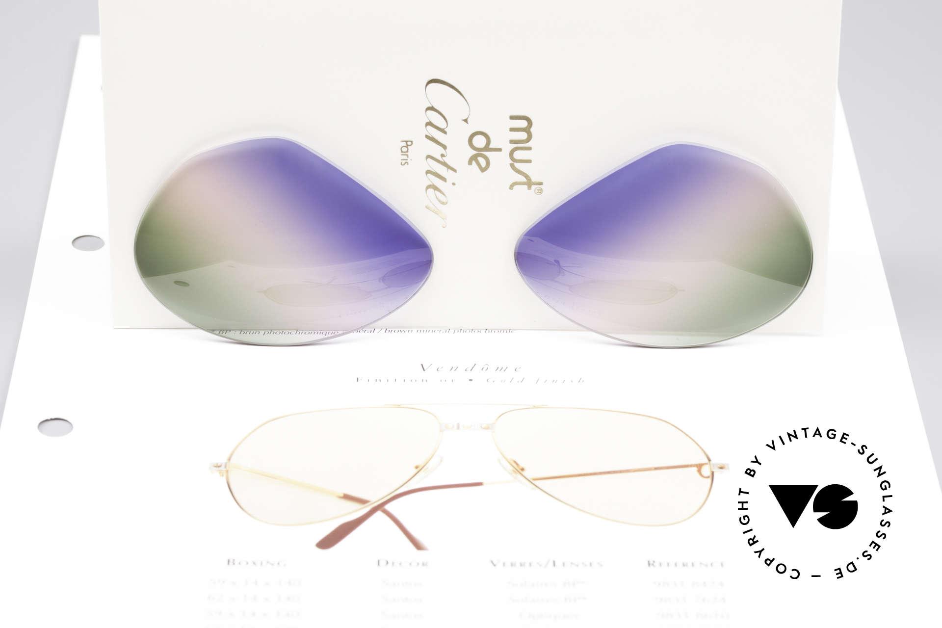 Cartier Vendome Lenses - L Tricolored Horizon Gläser, Dreifach-Farbverlauf wie ein morgendlicher Horizont, Passend für Herren und Damen