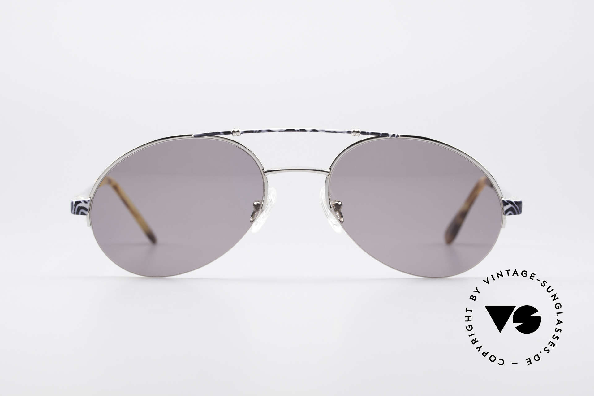 Bugatti 14651 90er Vintage Herrenbrille, hochwertigste Lackierung (subtiles blau/grau-Muster), Passend für Herren