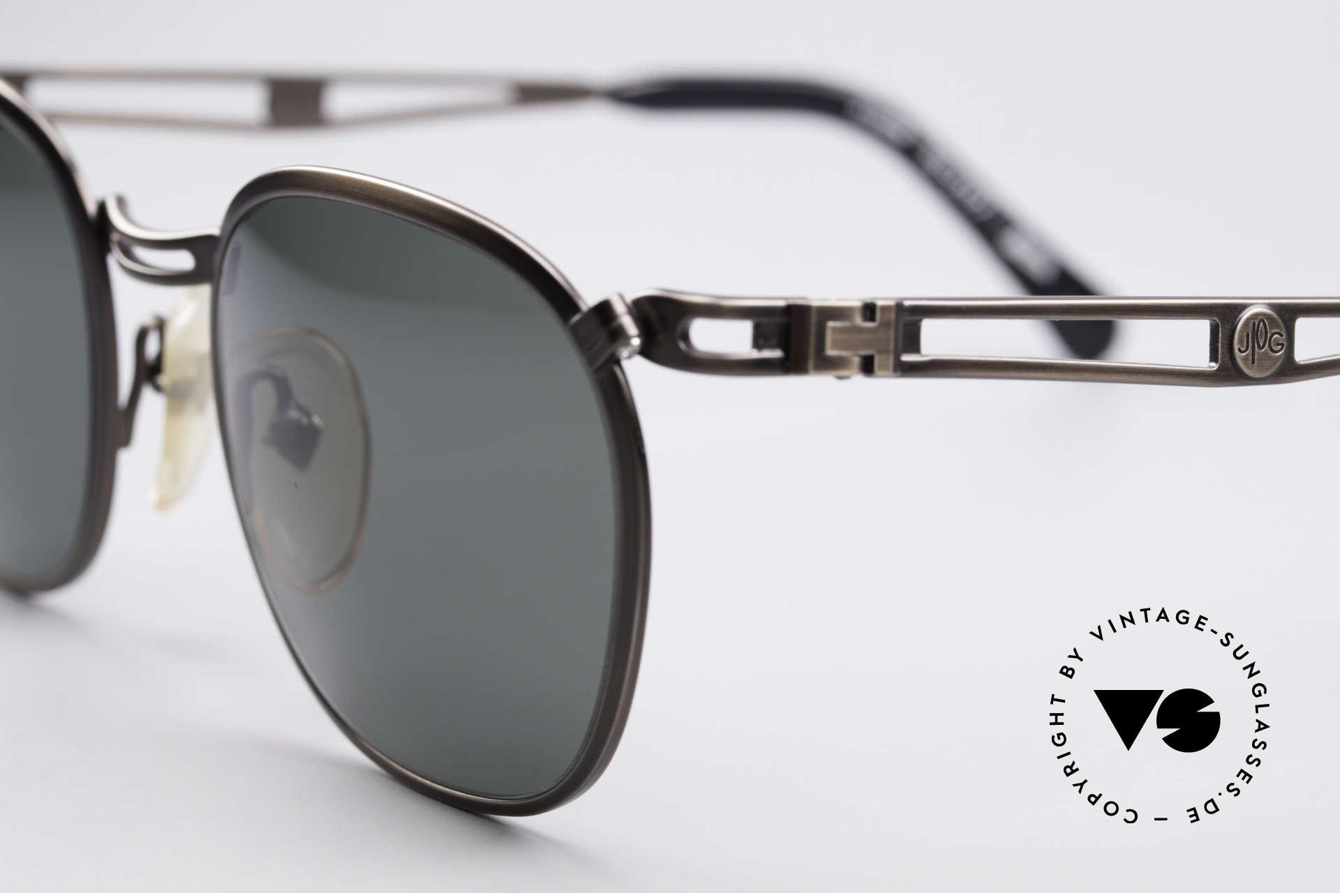 Jean Paul Gaultier 56-2177 Rare Designer Sonnenbrille, gunmetal gebürstet & mit grün/grauen Sonnengläsern, Passend für Herren und Damen