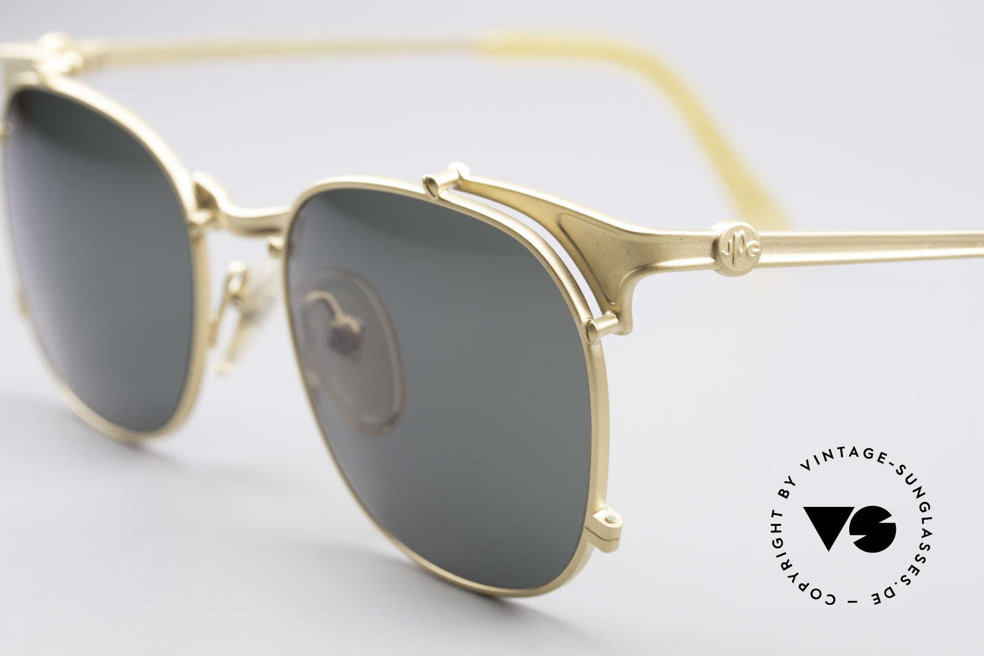 Jean Paul Gaultier 56-2175 Rare Vintage Sonnenbrille, klassische Farbkombination in (matt)gold / grün, Passend für Herren und Damen
