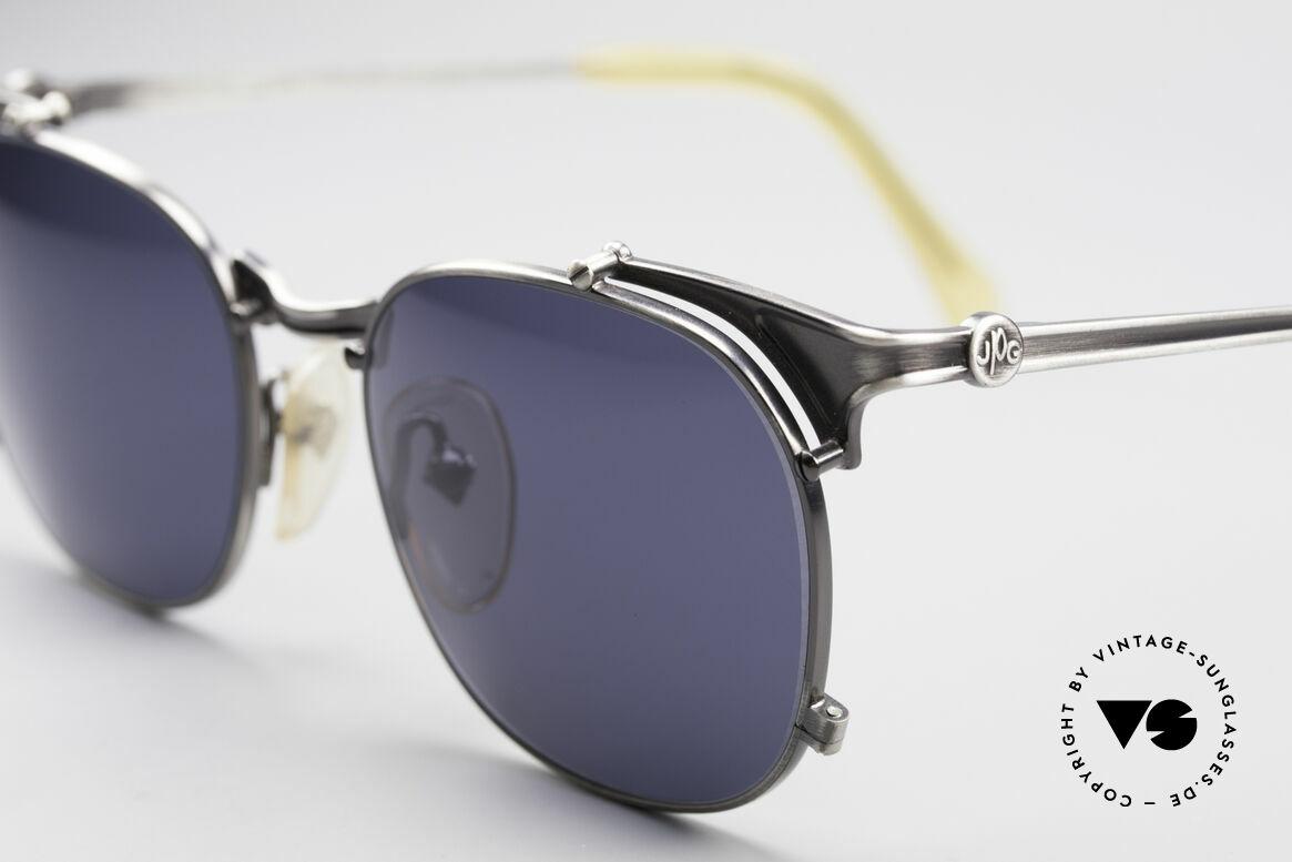 Jean Paul Gaultier 56-2175 90er Designer Sonnenbrille, gunmetal Fassung und dunkelblau-graue Gläser, Passend für Herren und Damen