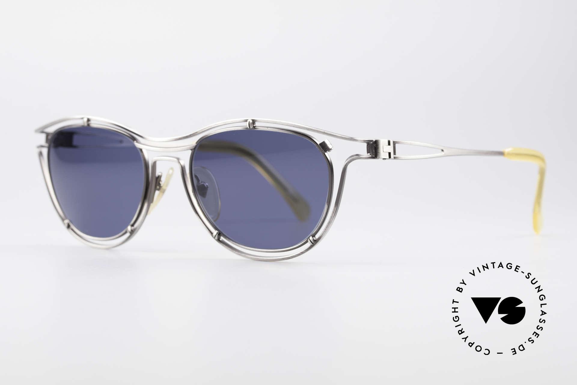 Jean Paul Gaultier 56-2176 Echte Designer Sonnenbrille, gebürstetes Titan mit dunkelblauen Sonnengläsern, Passend für Herren und Damen