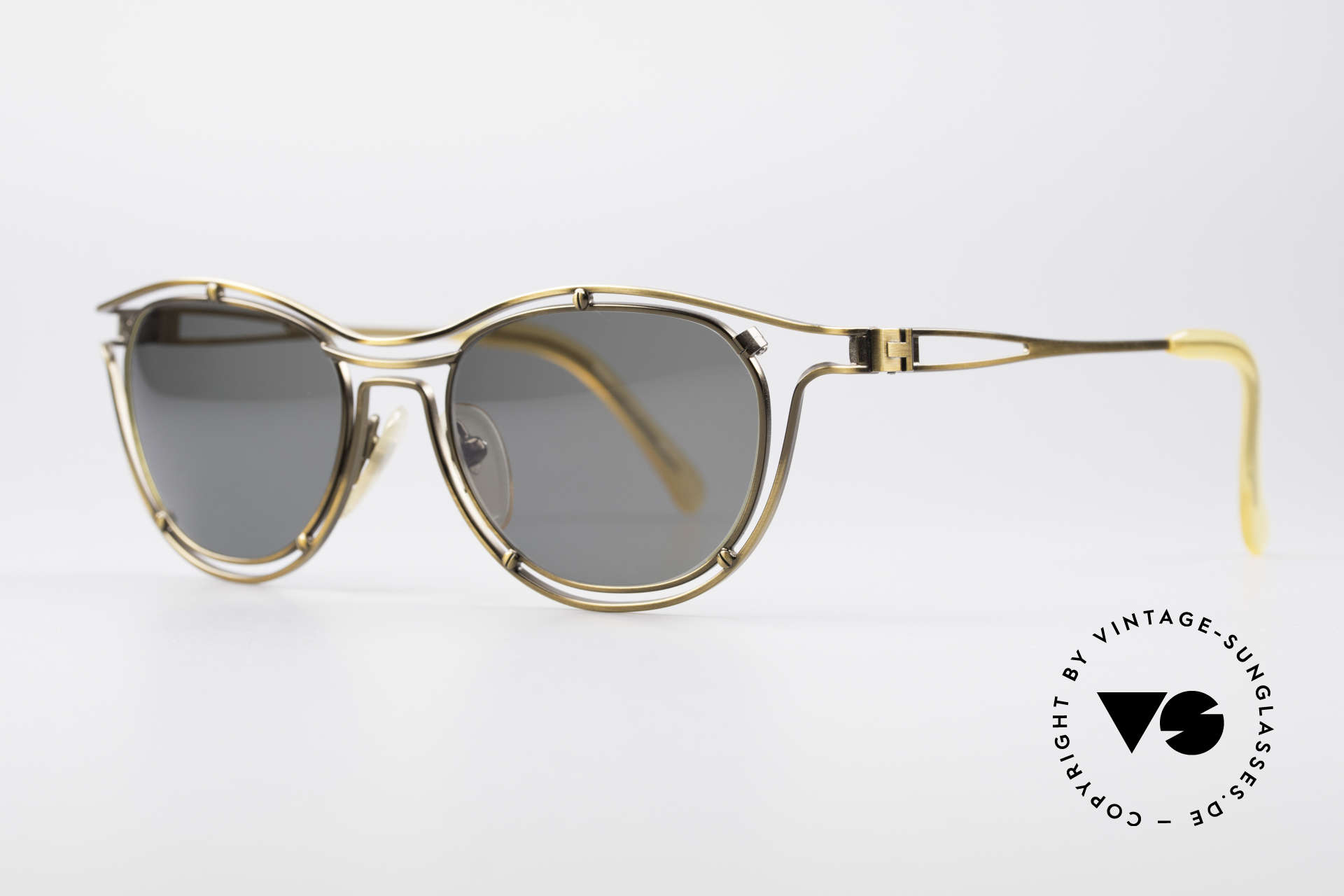Jean Paul Gaultier 56-2176 90er Designer Sonnenbrille, edler Bronze-Schimmer & dunkelgrün/graue Gläser, Passend für Herren und Damen