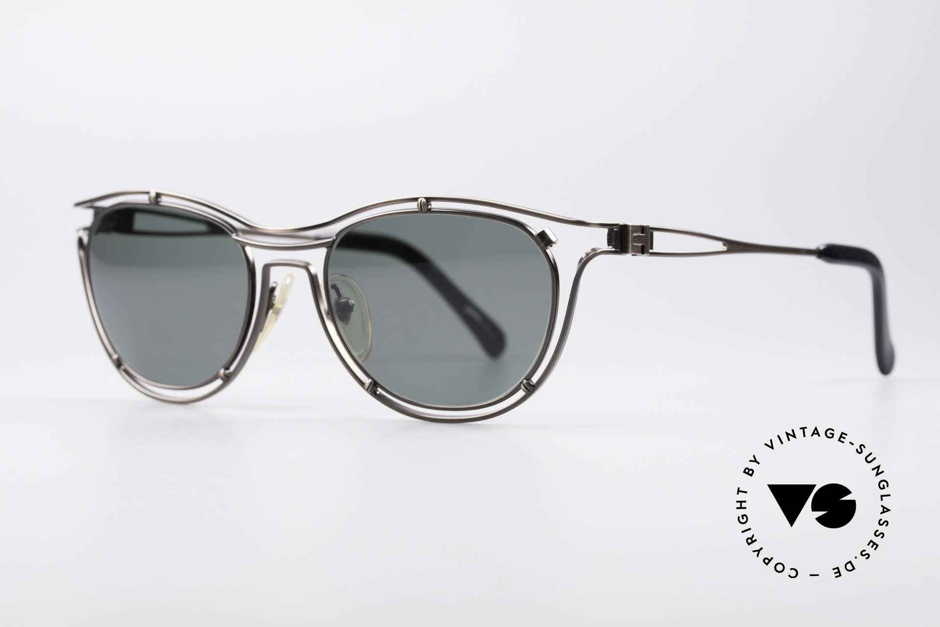 Jean Paul Gaultier 56-2176 Rare Designer Sonnenbrille, gunmetal-Glanz und dunkelgrüne Gläser; 100% UV, Passend für Herren und Damen