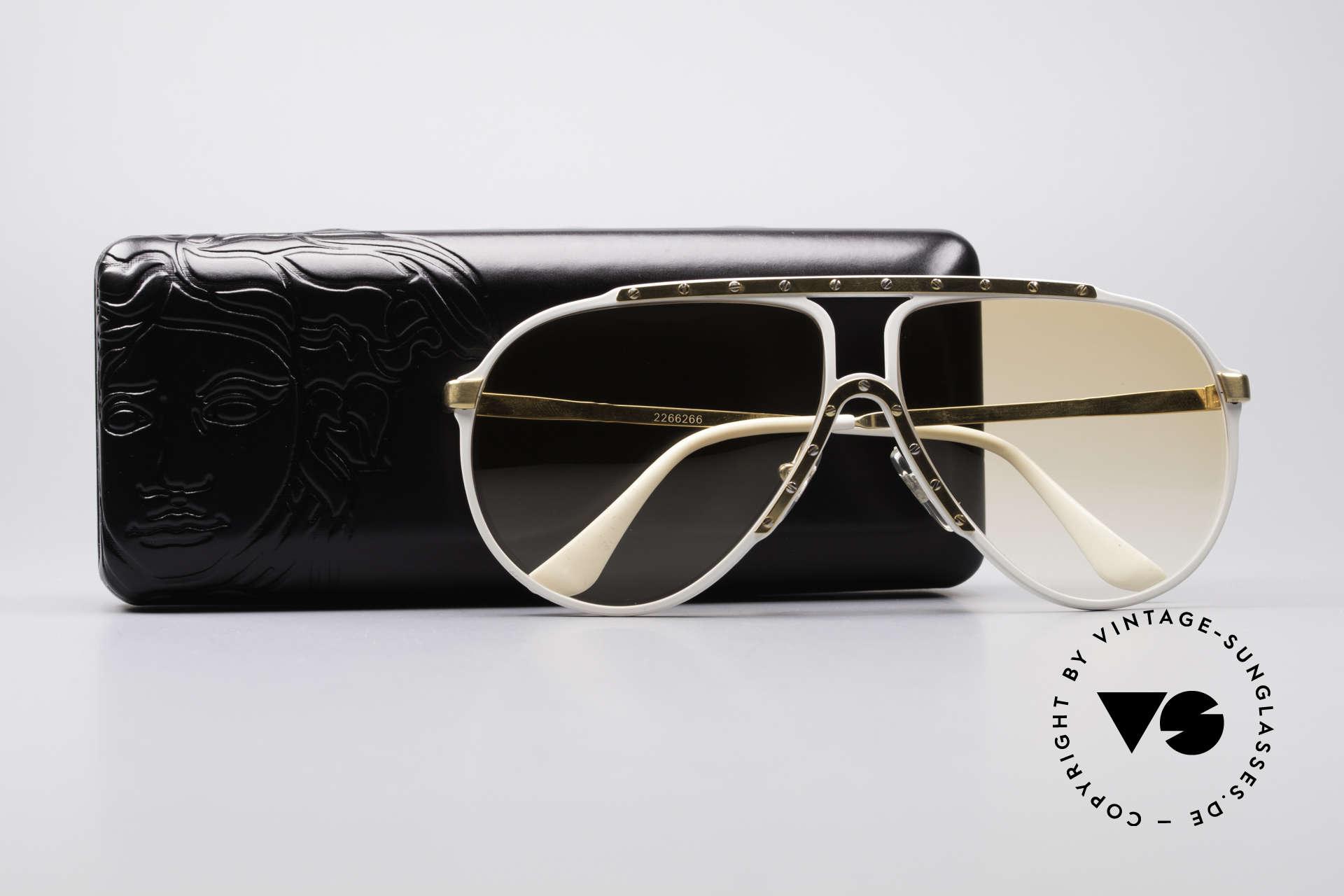 Alpina M1 80er Jahre Kultsonnenbrille, Gläser in orange-Verlauf (auch abends tragbar), Passend für Herren und Damen