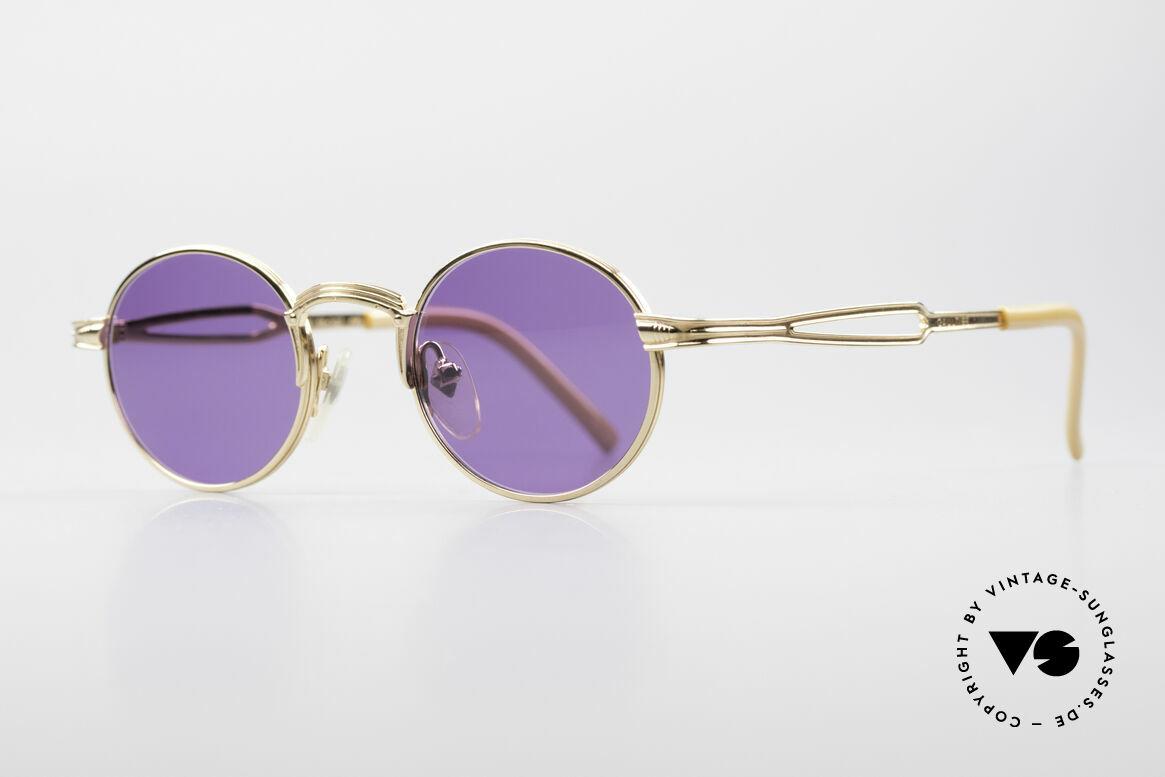 Jean Paul Gaultier 55-7107 XS Kleine Vergoldete Fassung, originelle Sonnengläser in violett / lila  (100% UV), Passend für Herren und Damen