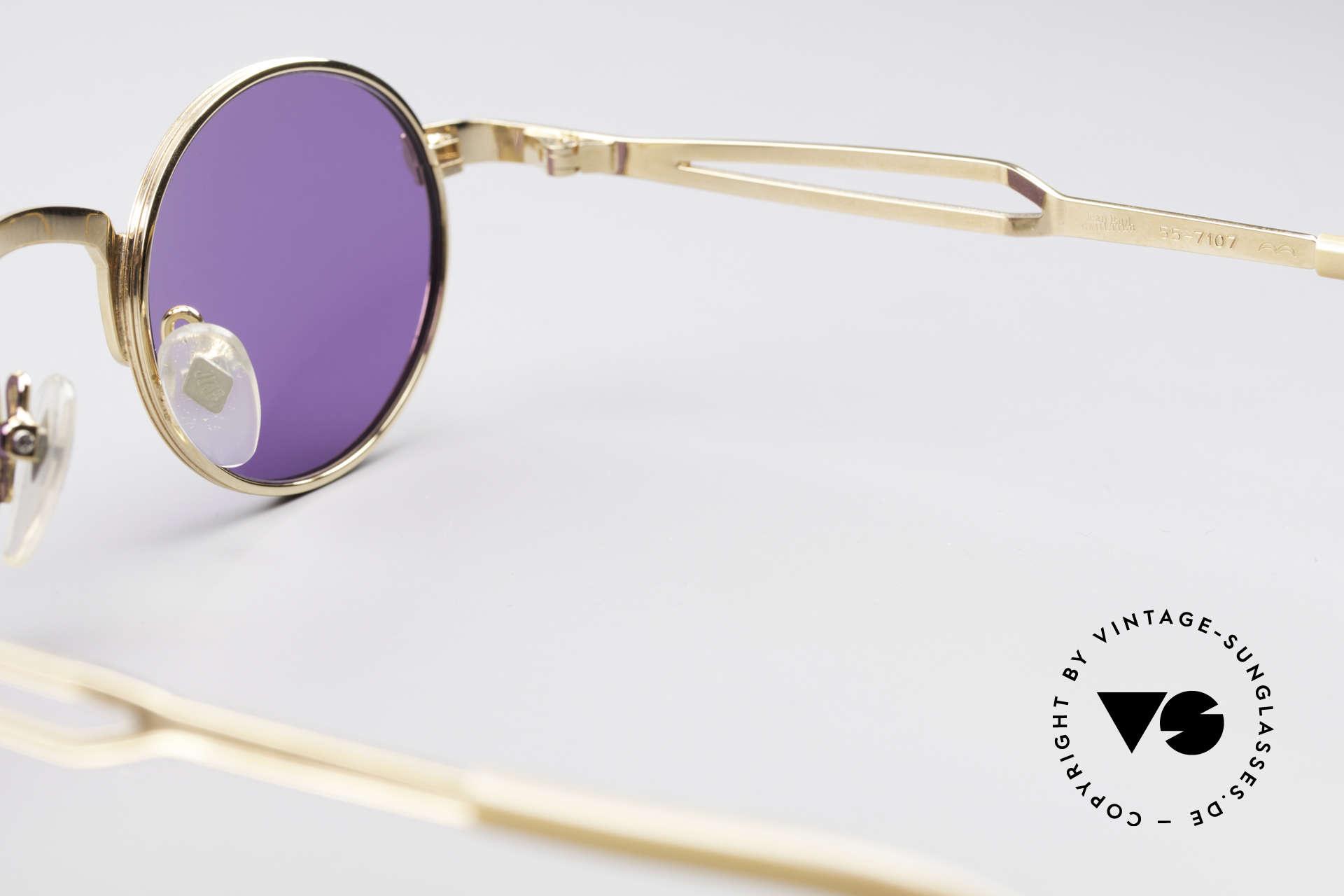 Jean Paul Gaultier 55-7107 XS Kleine Vergoldete Fassung, KEINE RETRObrille, ein kostbares ORIGINAL von 1997, Passend für Herren und Damen