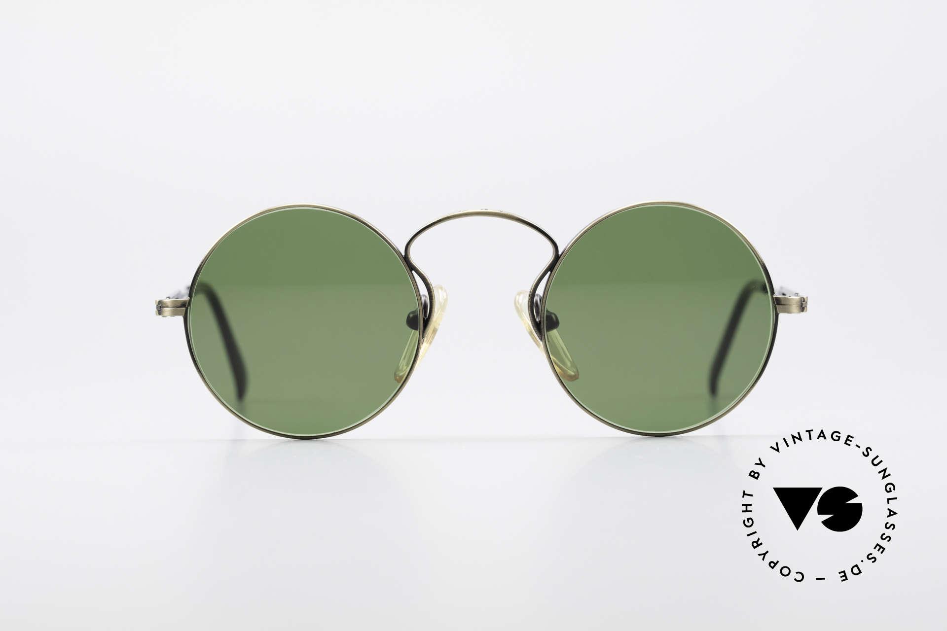 Jean Paul Gaultier 55-0172 90er Designer Sonnenbrille, runde Metall-Fassung; sehr leicht und komfortabel, Passend für Herren und Damen