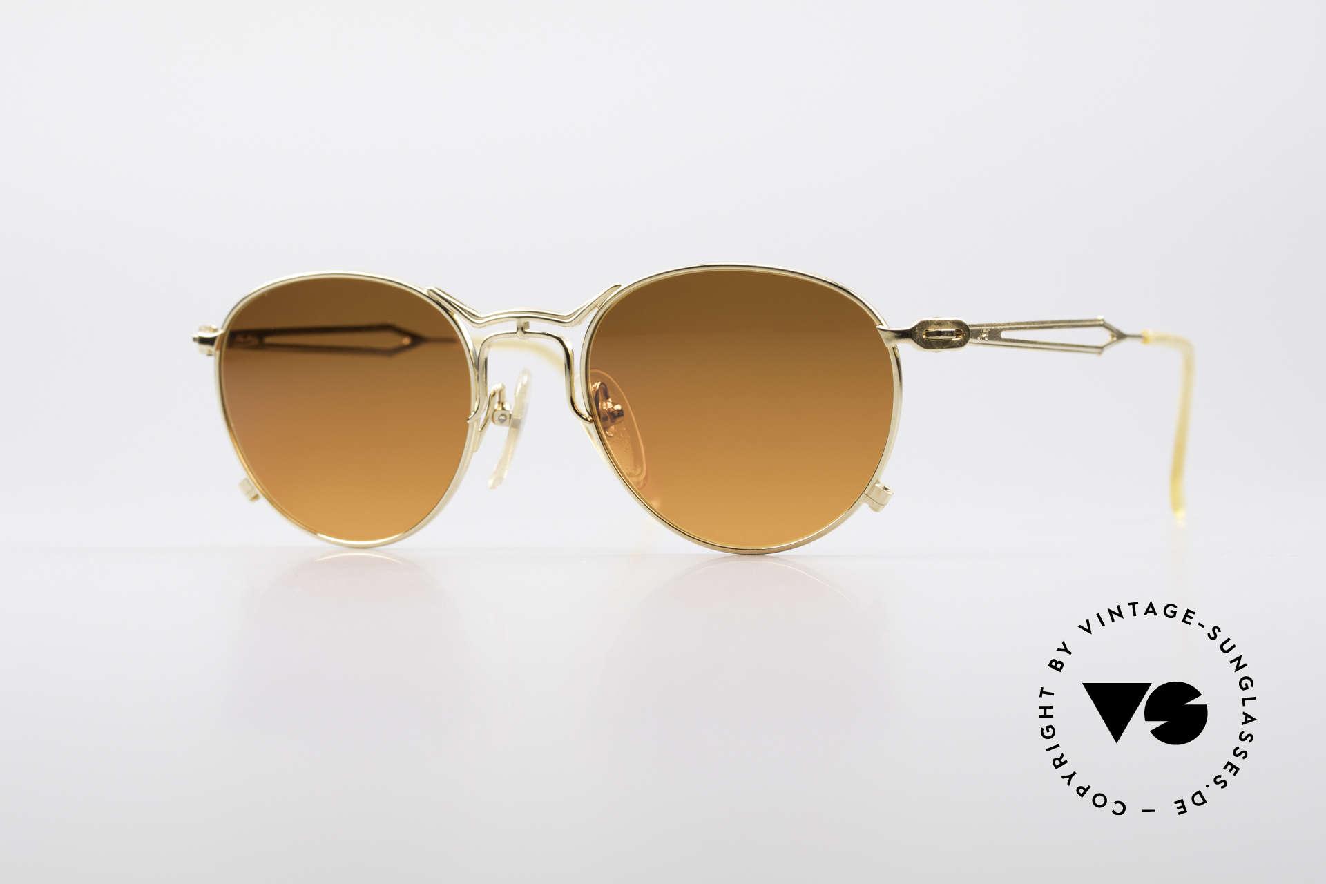 Jean Paul Gaultier 55-2177 Vergoldete Designer Fassung, außergewöhnliche vintage J.P.G Designersonnenbrille, Passend für Herren und Damen