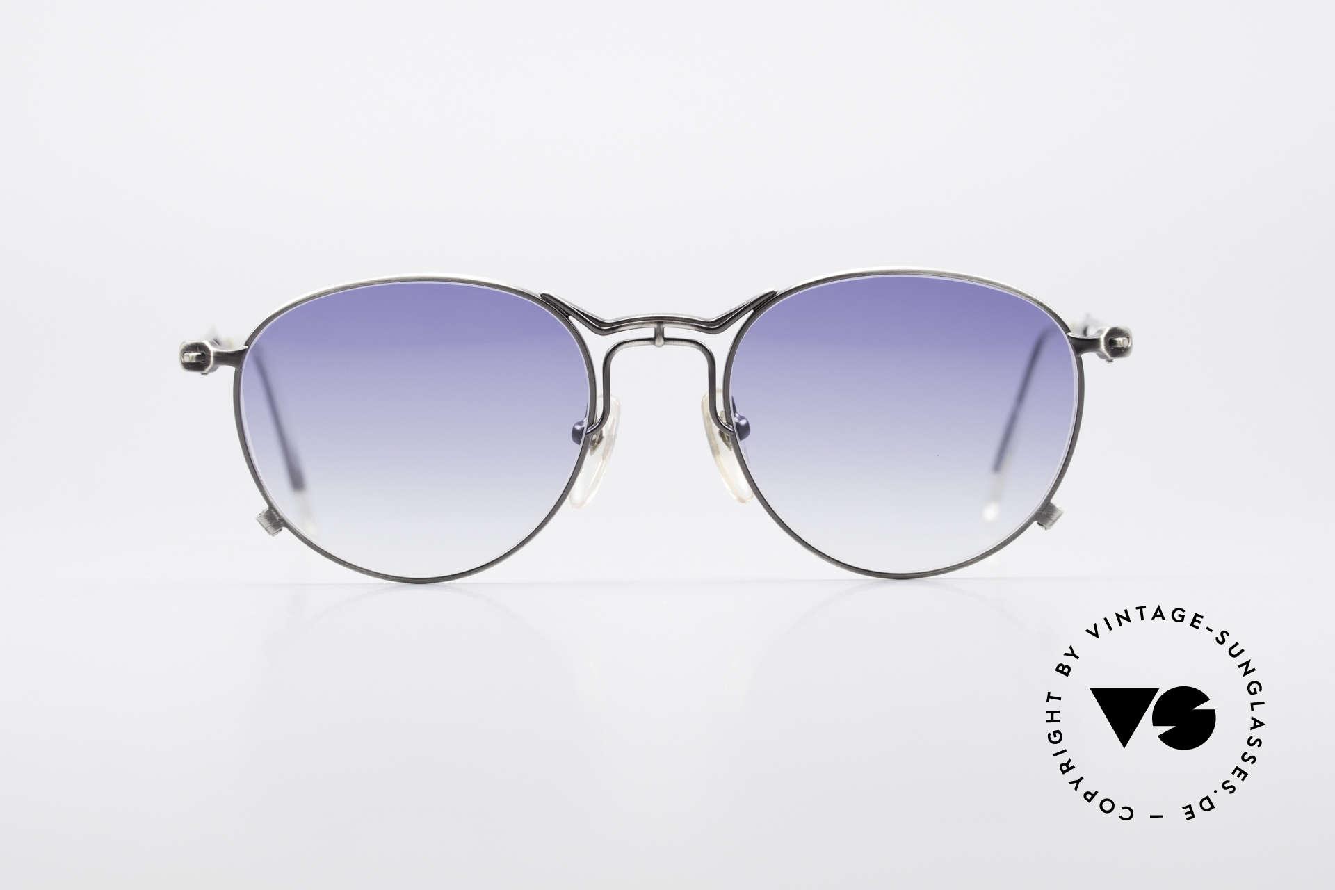 Jean Paul Gaultier 55-2177 Rare Designer Sonnenbrille, einzigartige Rahmenlackierung 'metallic smoke silver', Passend für Herren und Damen