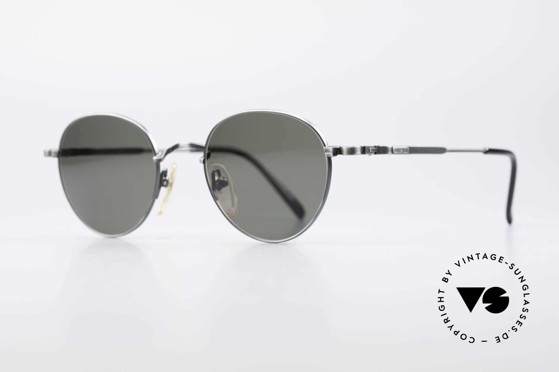 Jean Paul Gaultier 55-1174 Runde Designer Sonnenbrille, tannengrüne Fassung mit dunkelgrünen Sonnengläsern, Passend für Herren und Damen