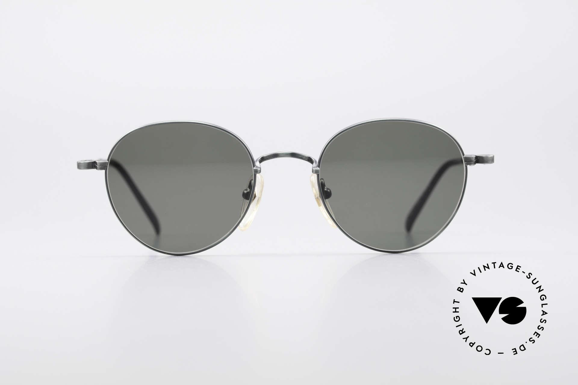 Jean Paul Gaultier 55-1174 Runde Designer Sonnenbrille, einzigartige Rahmenlackierung: 'metallic smoke green', Passend für Herren und Damen