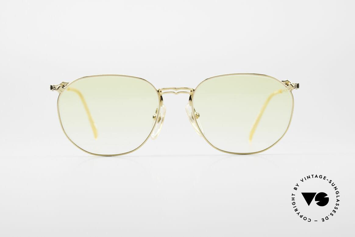 Jean Paul Gaultier 55-2173 Vergoldete Designerbrille, edler, vergoldeter Rahmen mit Gläsern in Gelb-Verlauf, Passend für Herren und Damen