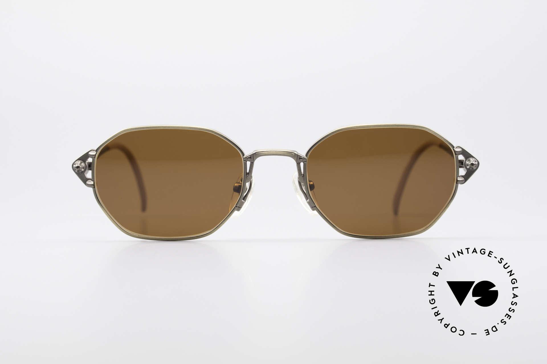 Jean Paul Gaultier 55-6106 90er Designer Sonnenbrille, robustes Gestell mit großartigen Details (Bügelansatz), Passend für Herren und Damen