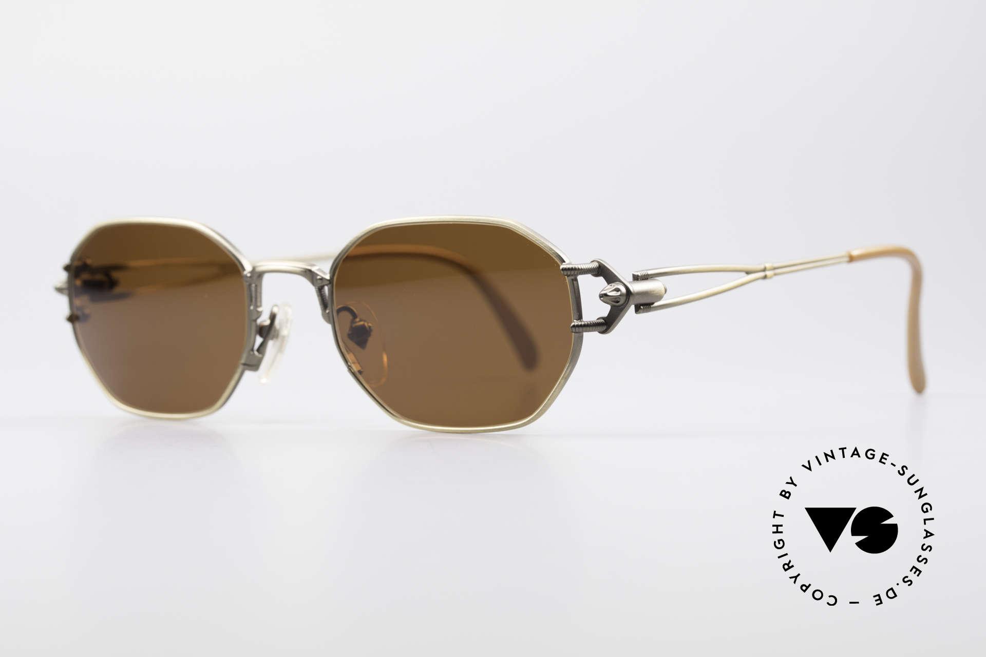 Jean Paul Gaultier 55-6106 90er Designer Sonnenbrille, technische / mechanische Komponenten (typisch J.P.G), Passend für Herren und Damen