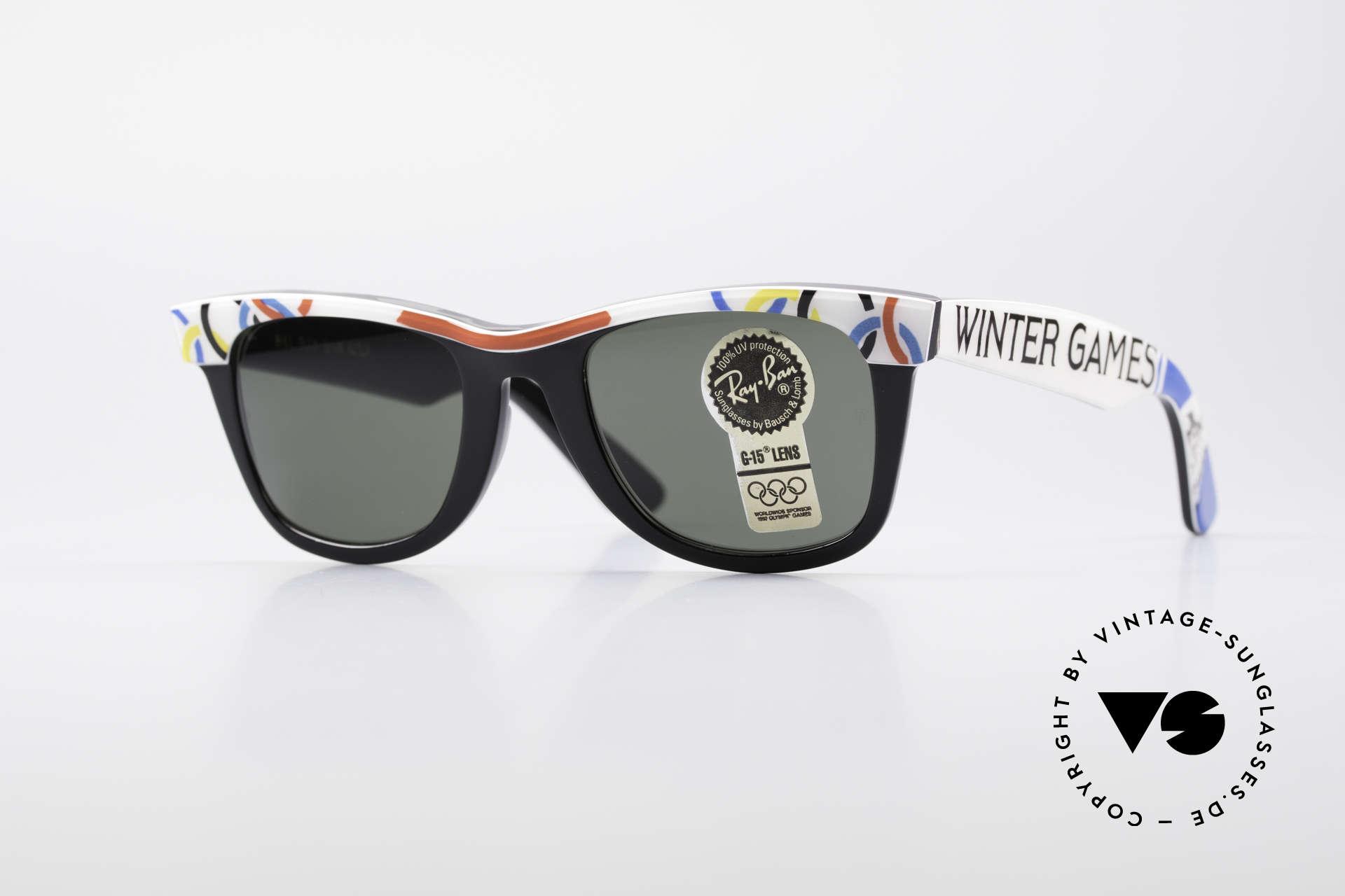 Ray Ban Wayfarer I Olympia 1928 St. Moritz, limitierte B&L USA vintage Wayfarer Sonnenbrille, Passend für Herren und Damen
