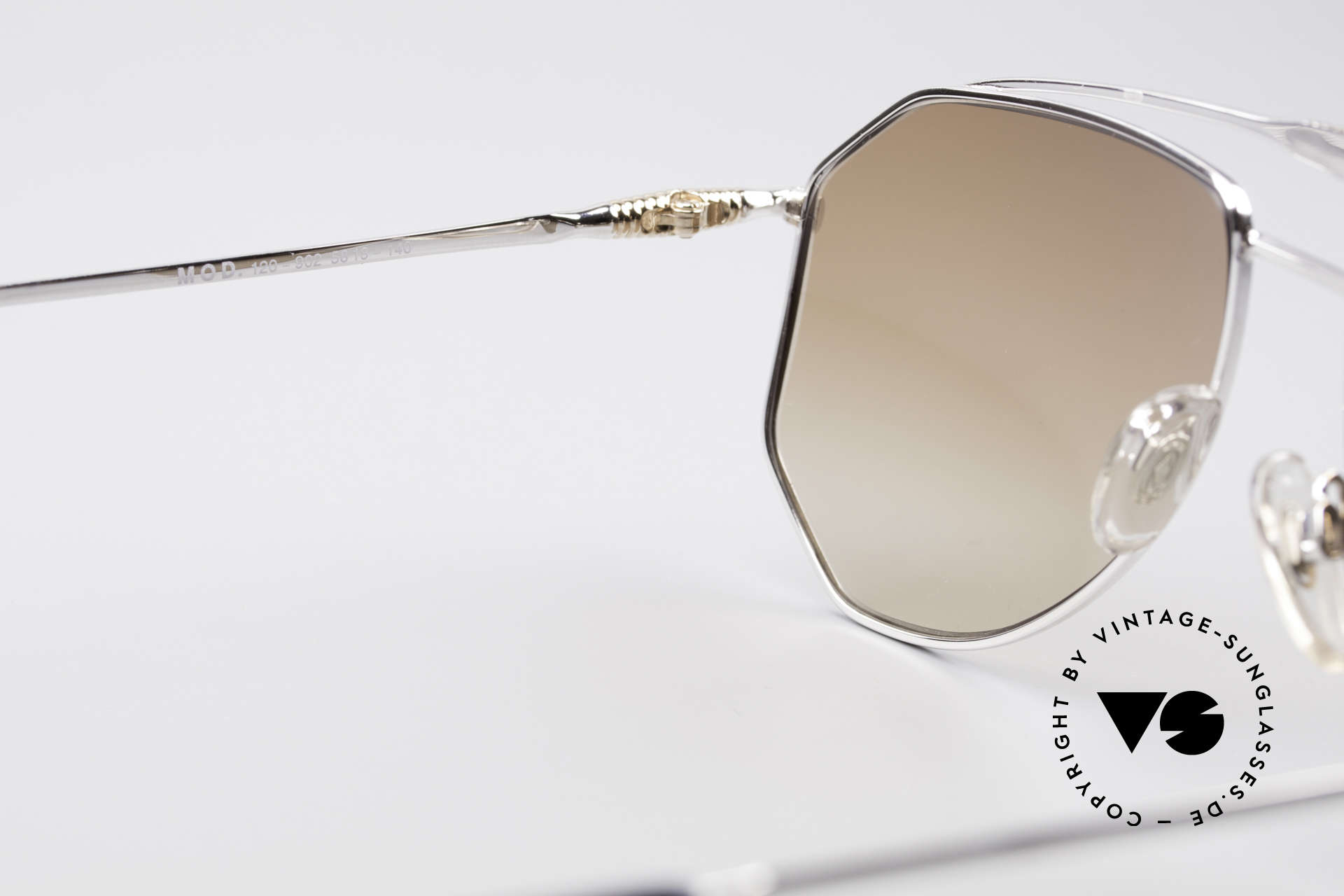 Zollitsch Cadre 120 Large 80er Sonnenbrille, silberne Fassung mit Sonnengläsern in rehbraun Verlauf, Passend für Herren