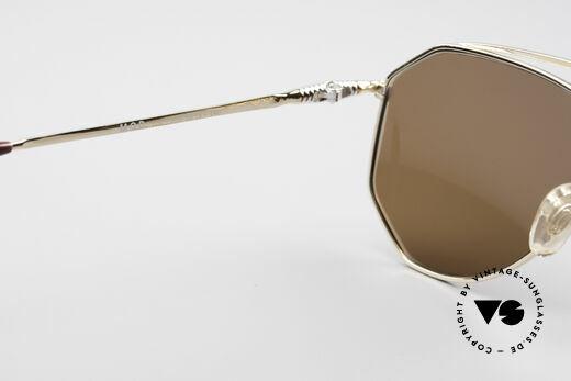 Zollitsch Cadre 120 Medium 80er Sonnenbrille, goldene Fassung mit dunkelbraunen Gläsern (100% UV), Passend für Herren