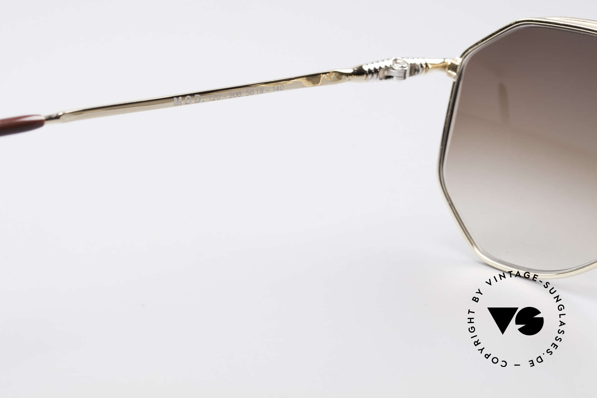Zollitsch Cadre 120 Medium 80er Vintage Brille, goldene Fassung mit Sonnengläsern in braun-Verlauf, Passend für Herren