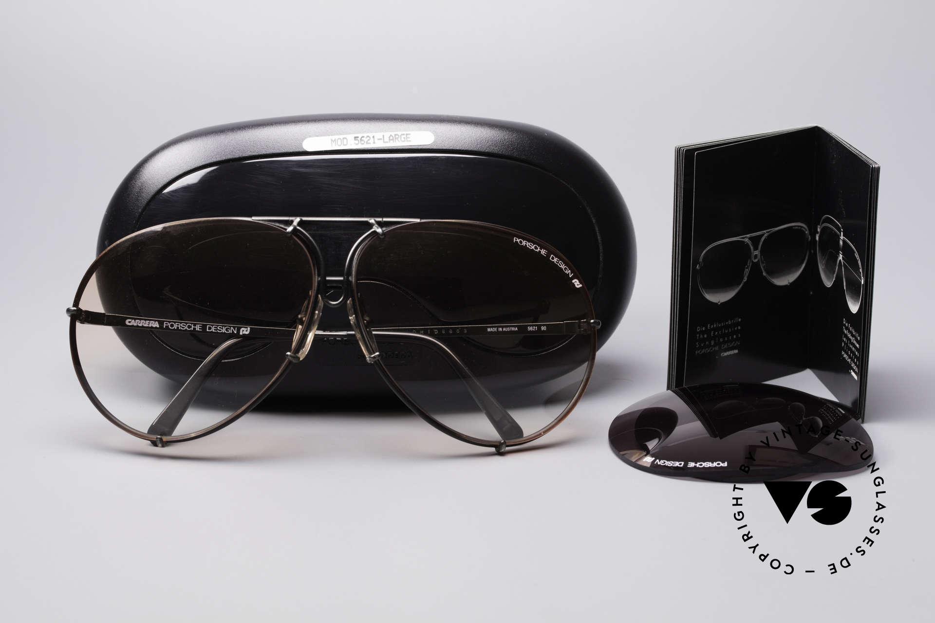 Porsche 5621 Seltene 80er XL Pilotenbrille, extrem seltenes Modell: Gläser in ORANGE-Verlauf, Passend für Herren