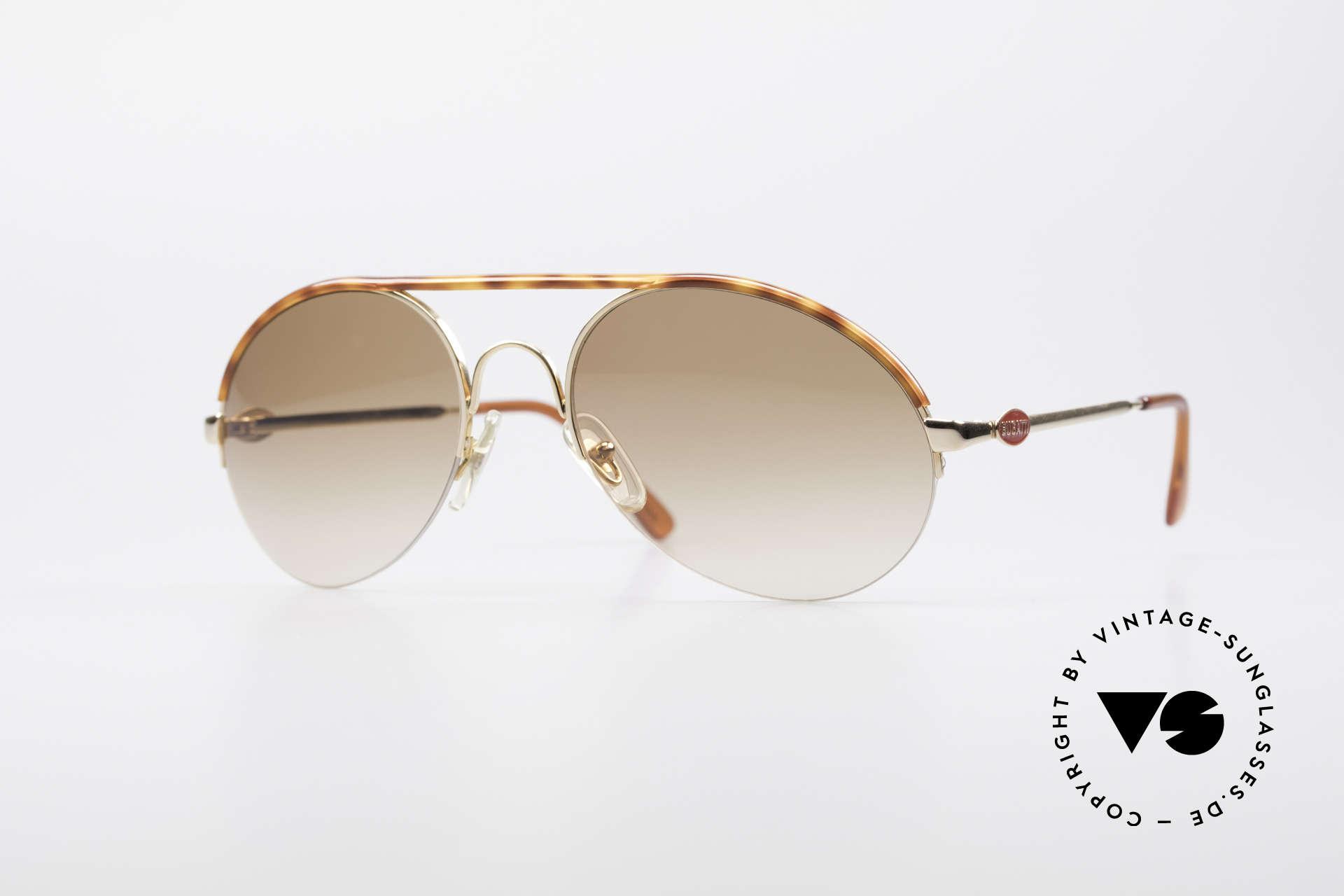 Bugatti 64919 Halb Rahmenlose Sonnenbrille, elegante vintage BUGATTI Designer-Sonnenbrille, Passend für Herren
